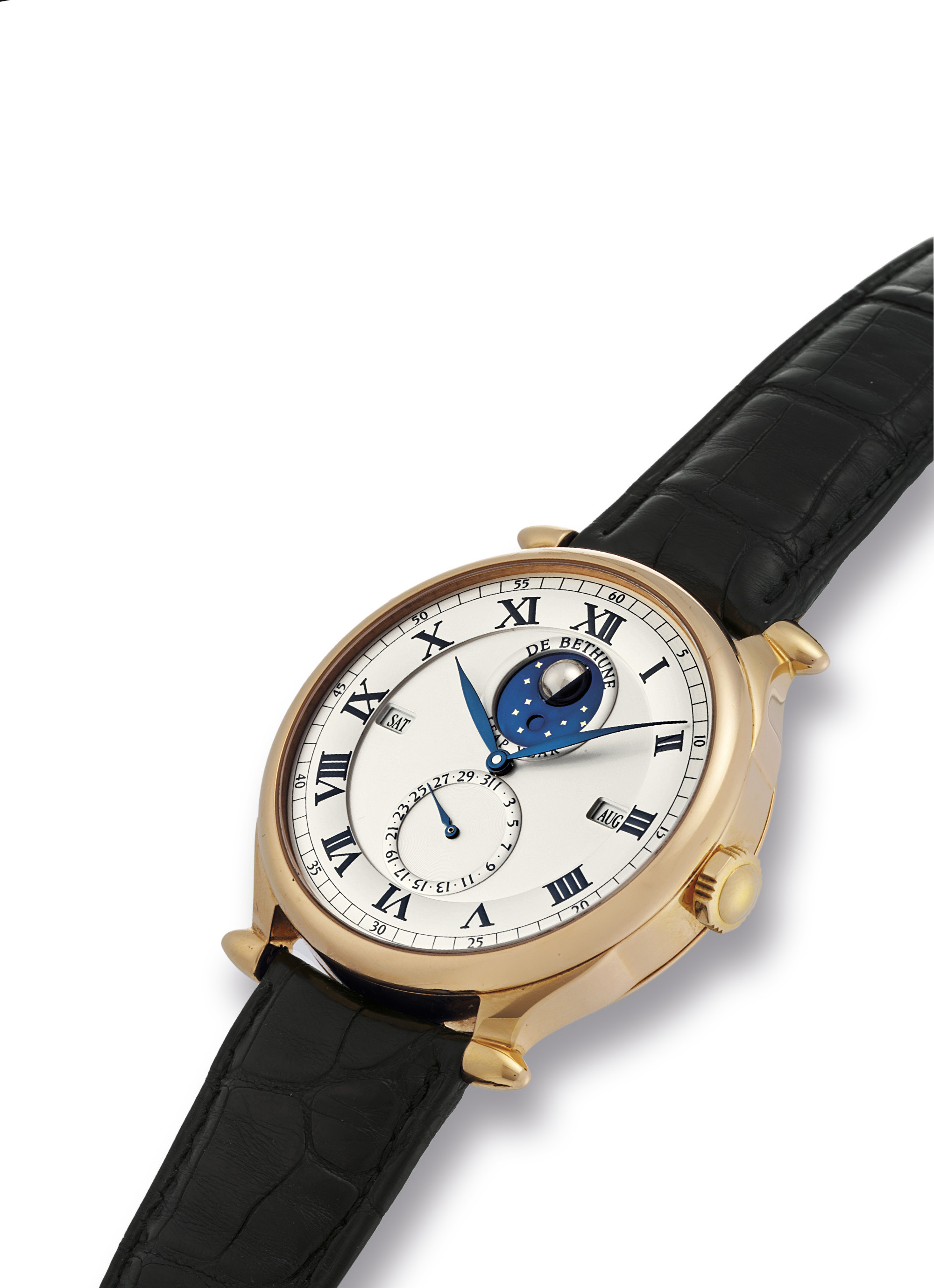 DE BETHUNE. A FINE AND LARGE 18K PINK GOLD PERPETUAL CALENDAR WRISTWATCH WITH 3-DIMENSIONAL REVOLVING MOON PHASES AND LEAP YEAR INDICATION