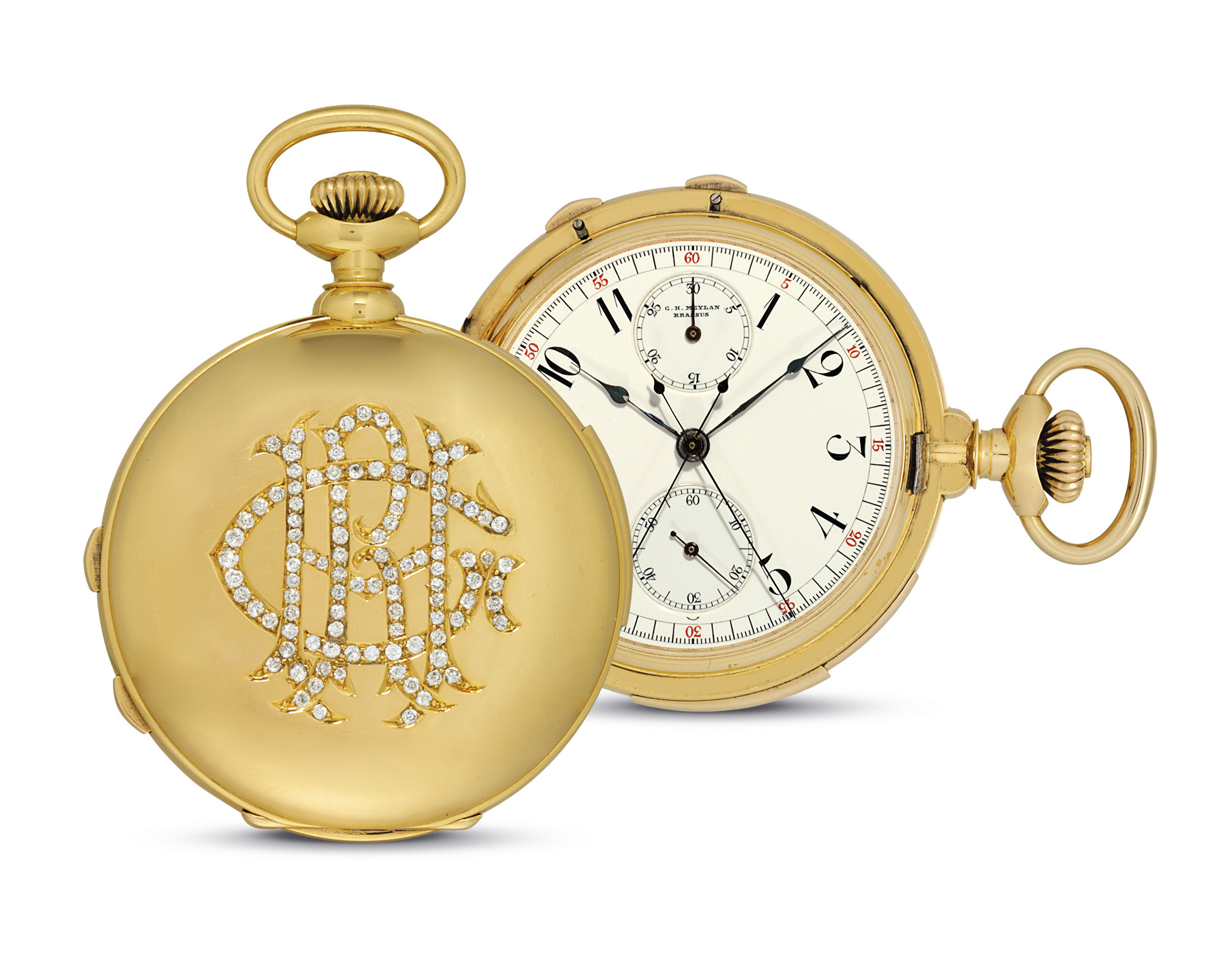 C.H. MEYLAN. A FINE 18K GOLD AND DIAMOND HUNTER CASE MINUTE REPEATING SPLIT SECONDS CHRONOGRAPH KEYLESS LEVER WATCH