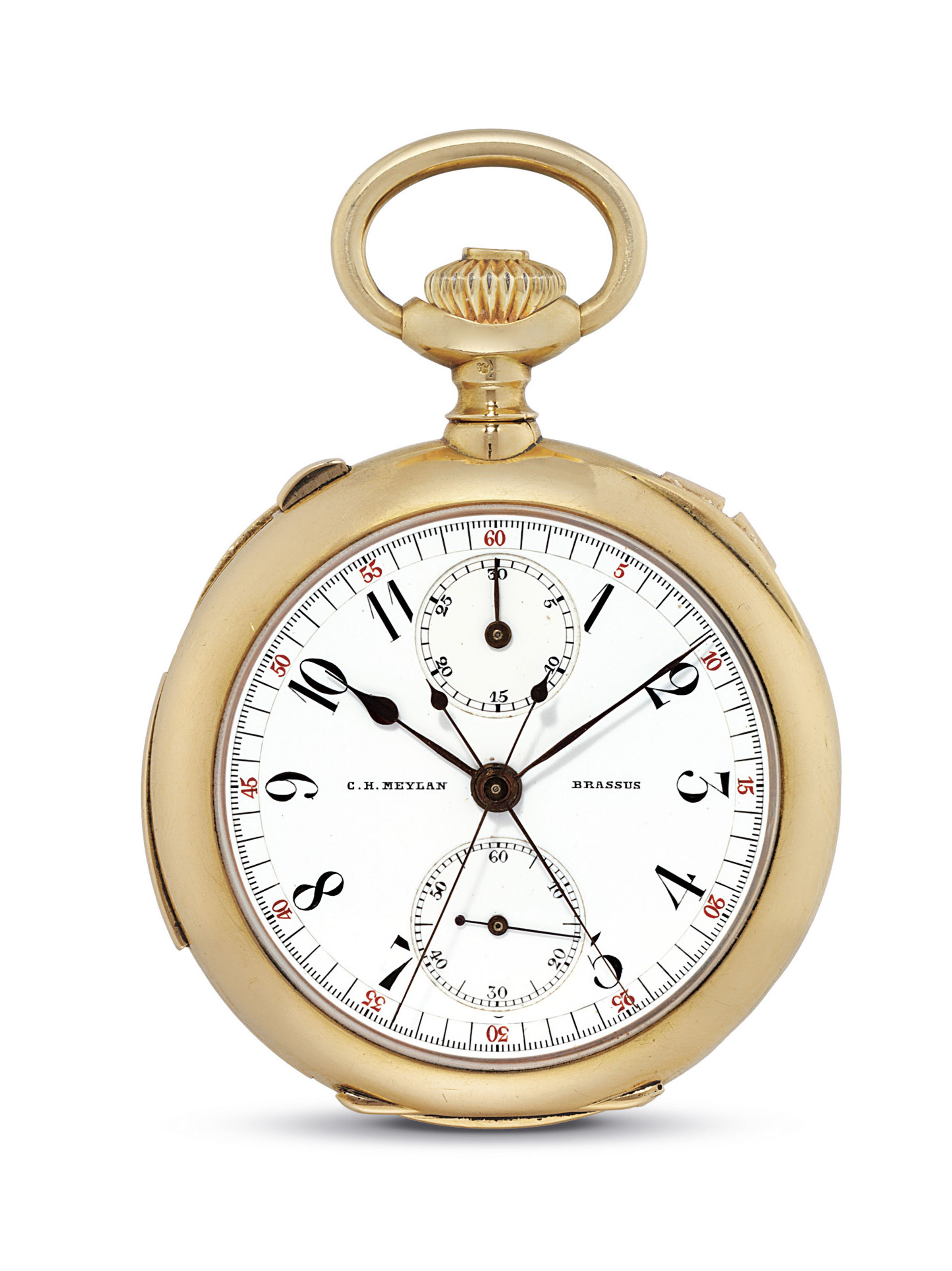 C.H. MEYLAN. A FINE AND RARE 18K GOLD OPENFACE MINUTE REPEATING SPLIT SECONDS CHRONOGRAPH KEYLESS LEVER WATCH