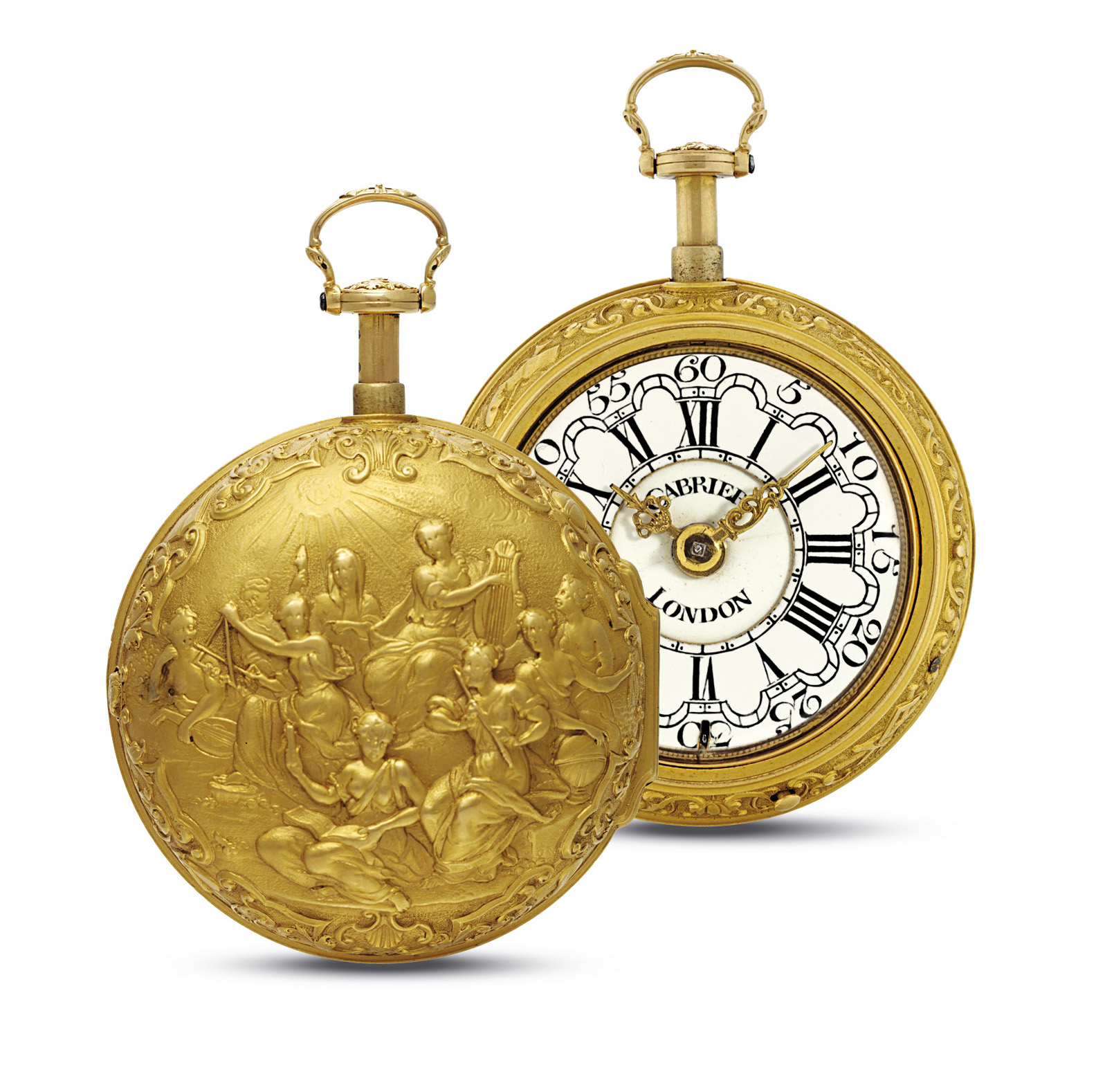 CABRIER. A VERY FINE AND RARE 18K GOLD QUARTER REPEATING A TOC PAIR CASE REPOUSSE WATCH