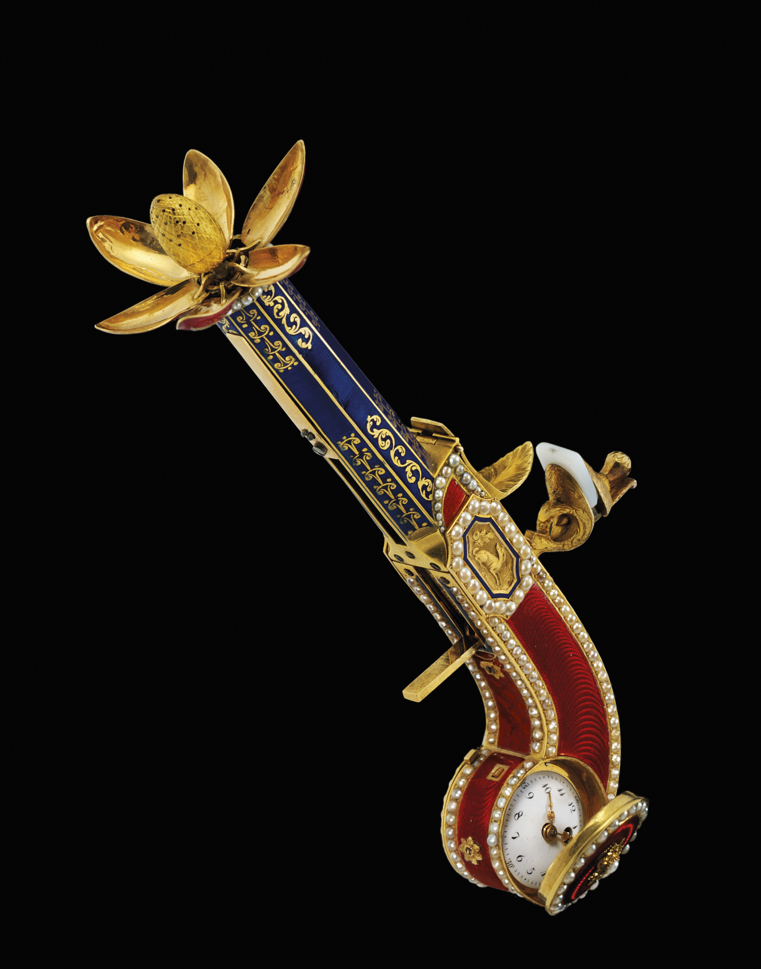 MOULINIÉ, BAUTTE & CIE. AN EXTREMELY RARE, IMPORTANT AND FINE GOLD, ENAMEL AND PEARL-SET FLINTLOCK PISTOL-FORM PERFUME SPRINKLER WITH CONCEALED WATCH, MADE FOR THE CHINESE MARKET