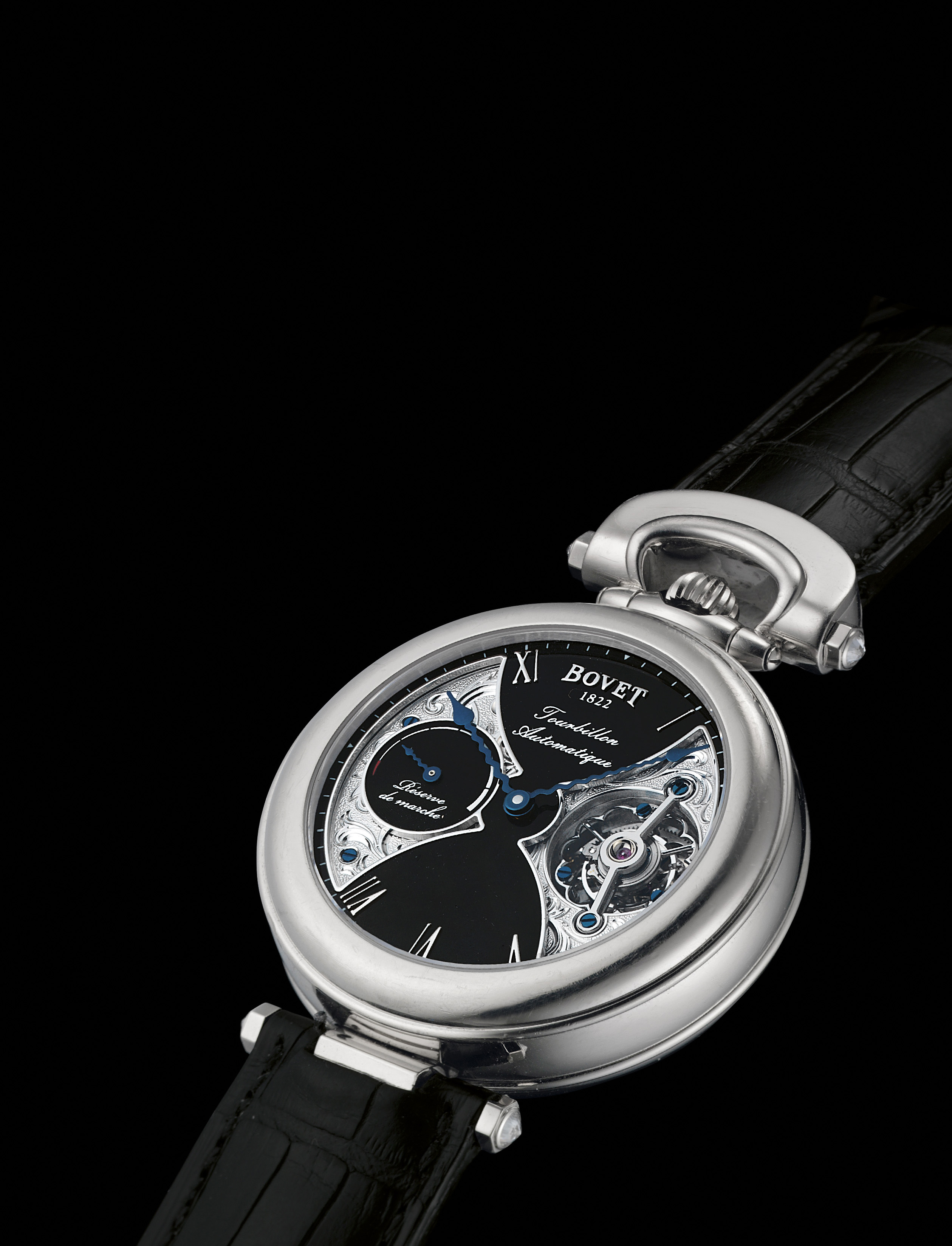 BOVET. A FINE AND UNIQUE 18K WHITE GOLD AUTOMATIC TOURBILLON WRISTWATCH WITH POWER RESERVE, ORIGINAL CERTIFICATE AND BOX