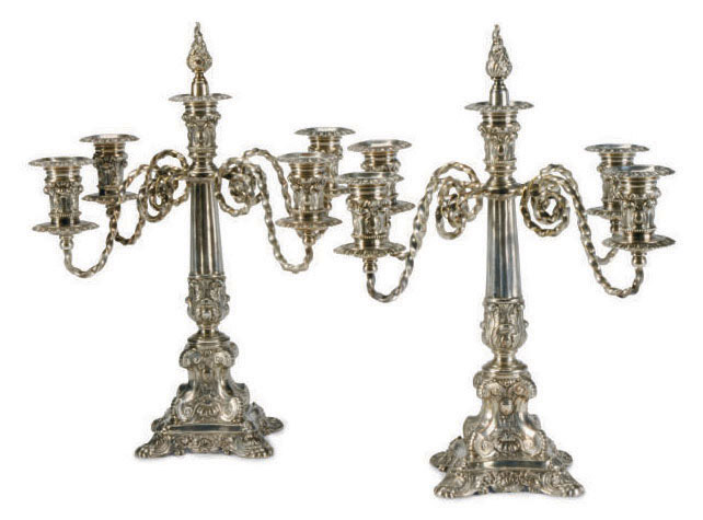 A PAIR OF AMERICAN SILVER-PLATED FIVE-LIGH CANDELABRA,