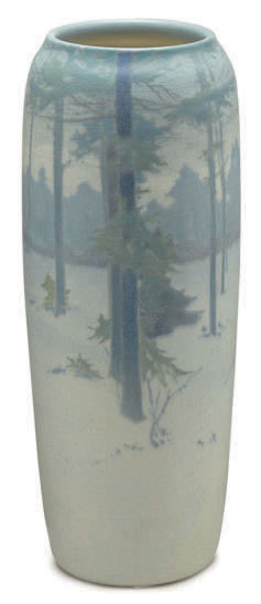AN AMERICAN GLAZED EARTHENWARE LANDSCAPE VASE,