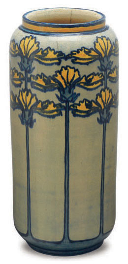 AN AMERICAN GLAZED EARTHENWARE CYLINDRICAL VASE PAINTED WITH DAFFODILS,