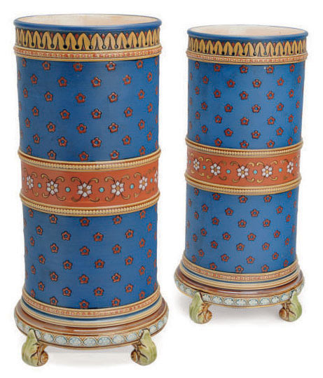 A PAIR OF GERMAN BLUE AND BROWN GROUND CYLINDRICAL VASES,