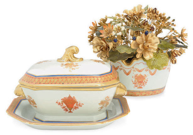 A CHINESE EXPORT STYLE MANDARIN PALETTE SMALL TUREEN, COVER AND STAND AND A SIMILAR OVAL BOWL MOUNTED WITH GILT-METAL FLOWERS,