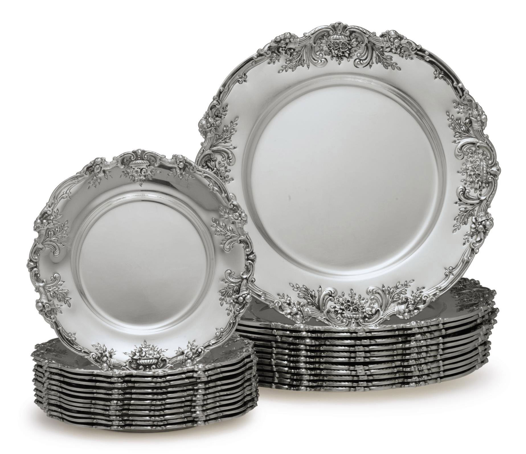 A SET OF TWELVE SILVER DINNER PLATES AND TWELVE SILVER BREAD PLATES
