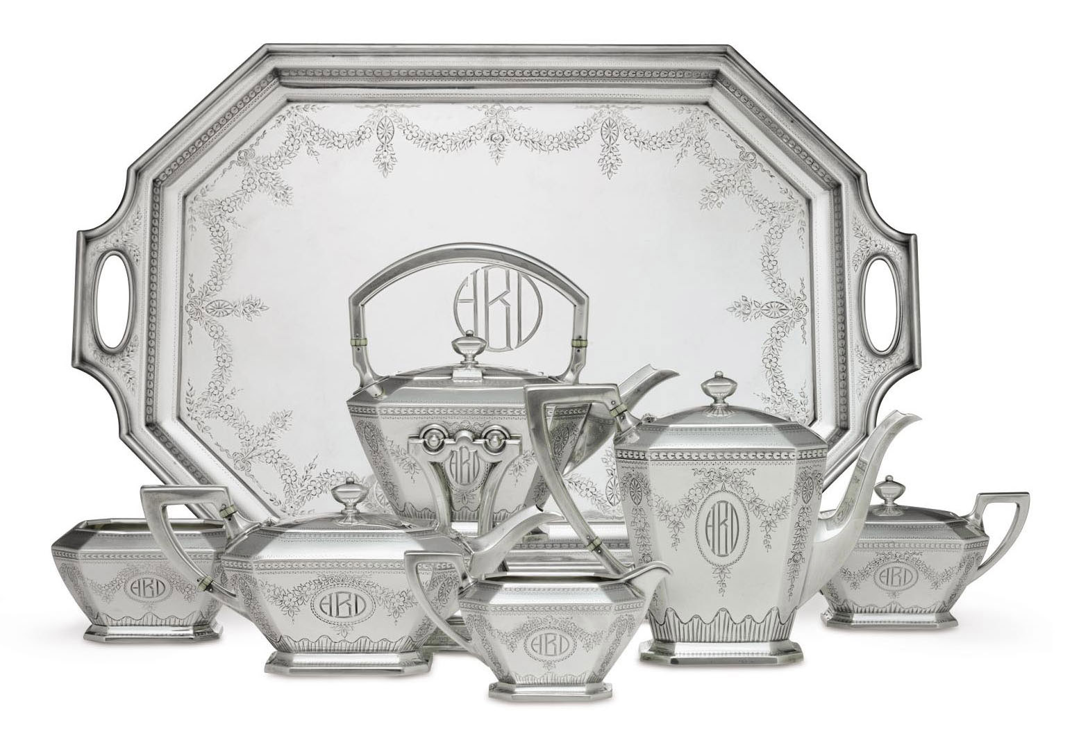 A SIX-PIECE SILVER TEA AND COFFEE SERVICE WITH TRAY**