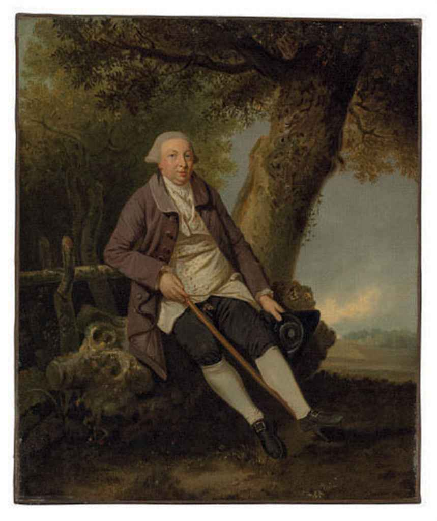 Portrait of Thomas Bradshaw, Esq., Junior Secretary to the Treasurer (1766), seated full-length, in a wooded landscape
