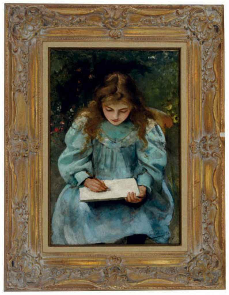Girl drawing in a book