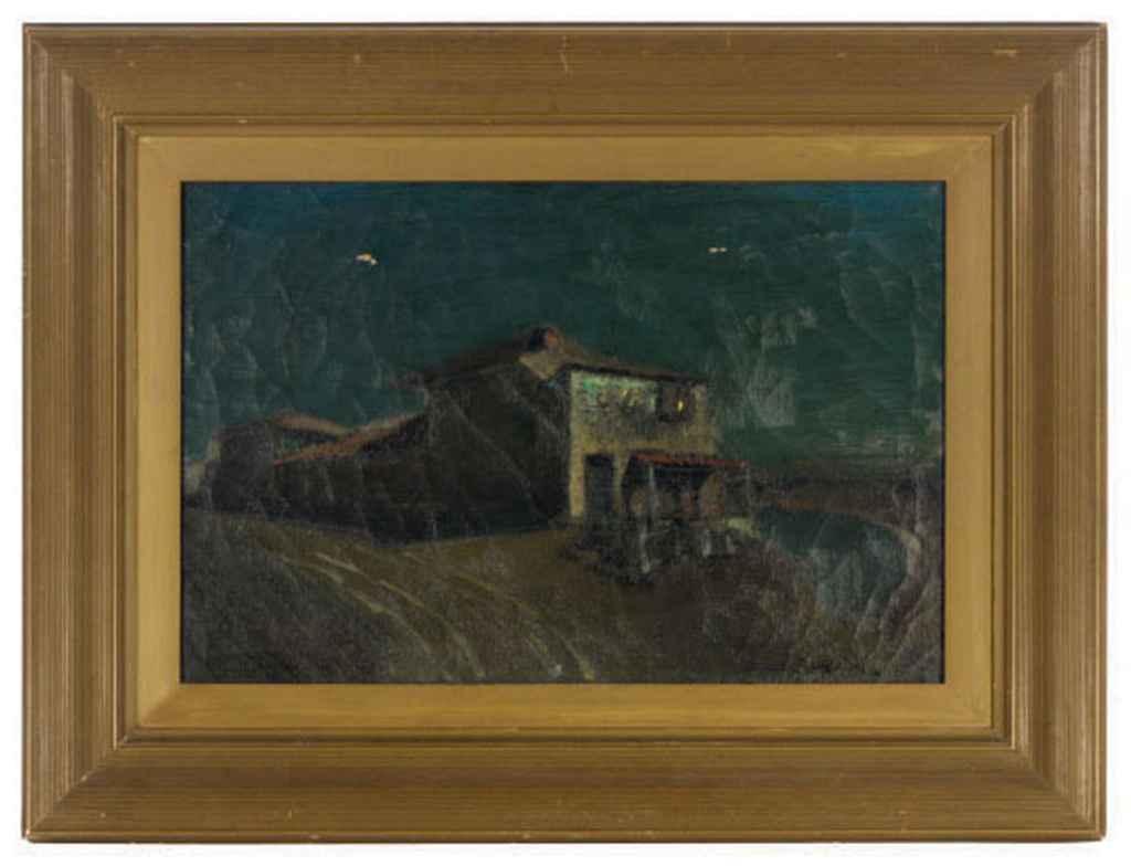 Moonlit landscape with house