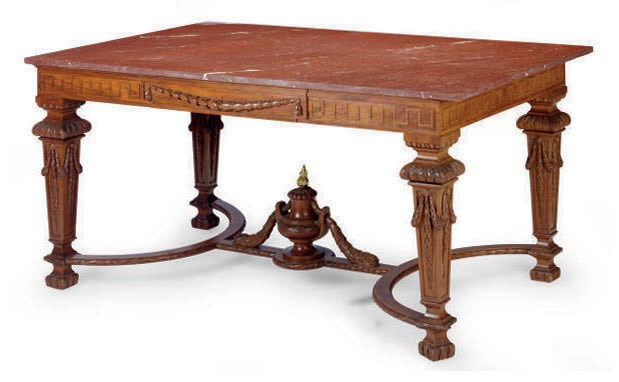 Red Marble Top : A mahogany and red marble top rectangular center table