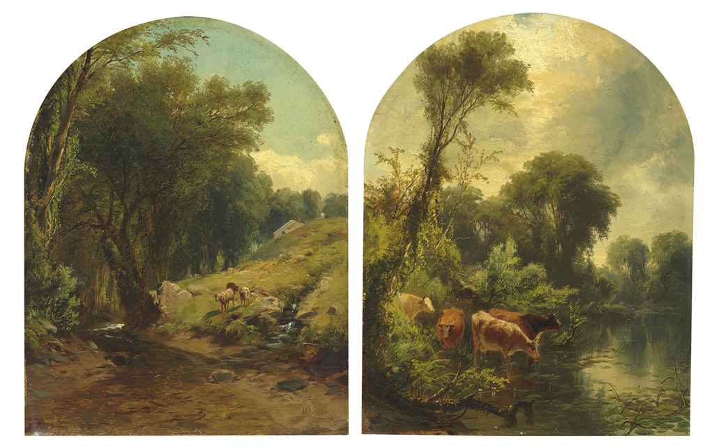 Sheep by a Stream and Cows Watering: A Pair of Works