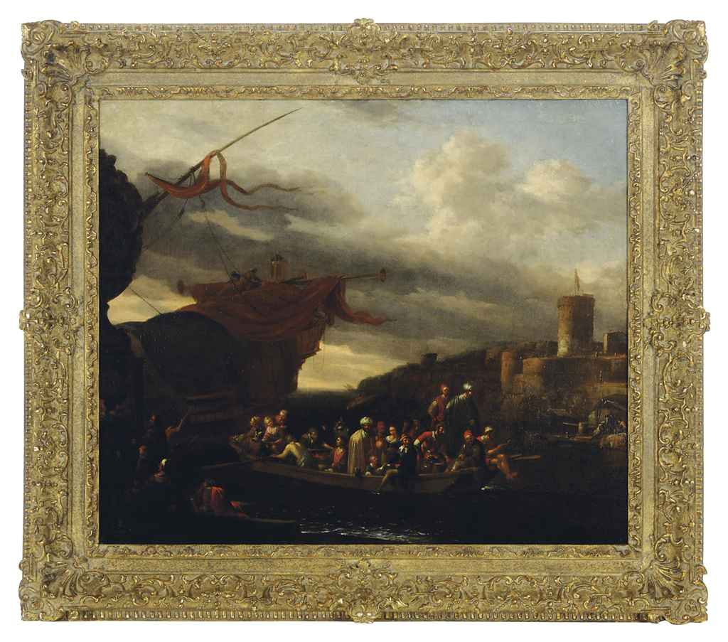 Merchants and sailors disembarking from a galleon in a Mediterranean port