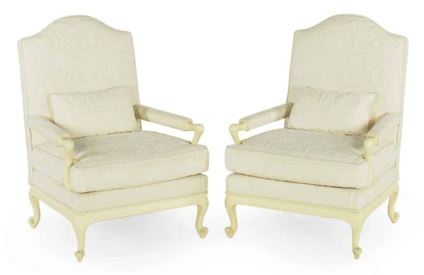 A PAIR OF CREAM-PAINTED AND IV