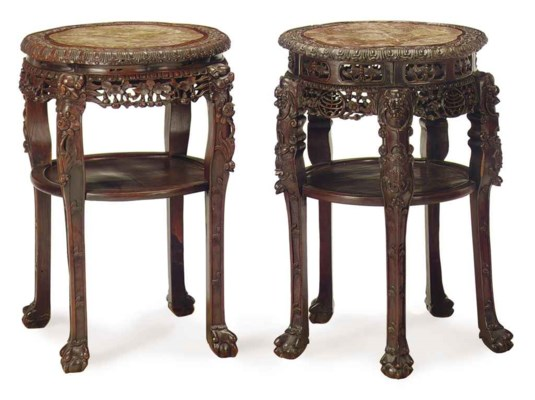 TWO SIMILAR CHINESE CARVED HON