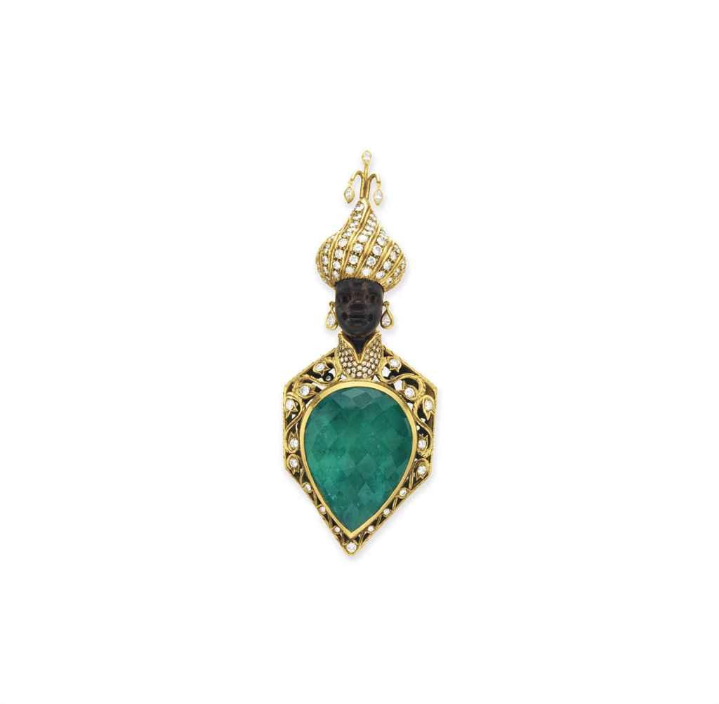 A DIAMOND, EMERALD AND GOLD BLACKAMOOR BROOCH, BY NARDI