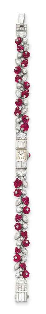 AN ART DECO RUBY AND DIAMOND WRISTWATCH, BY OSTERTAG