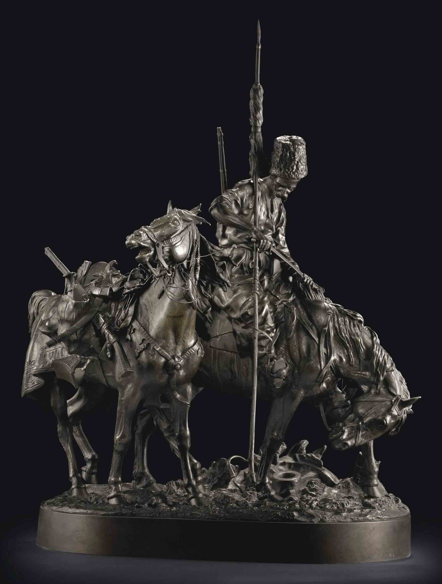 A Bronze Group of a Zaporozhian Cossack After Battle