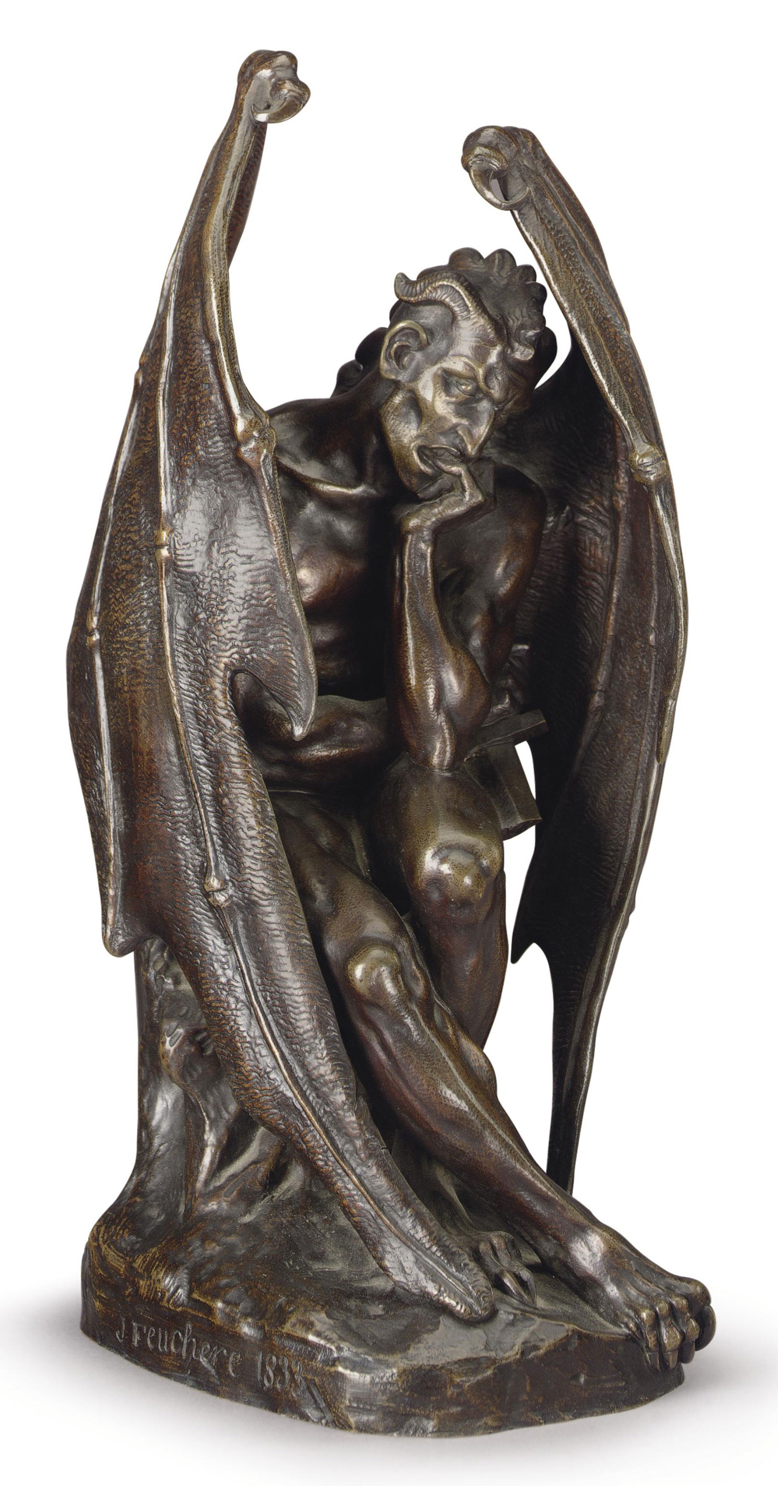A FRENCH PATINATED BRONZE FIGURE OF MEPHISTOPHELES