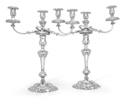 A PAIR OF REGENCY SILVER THREE-LIGHT CANDELABRA WITH