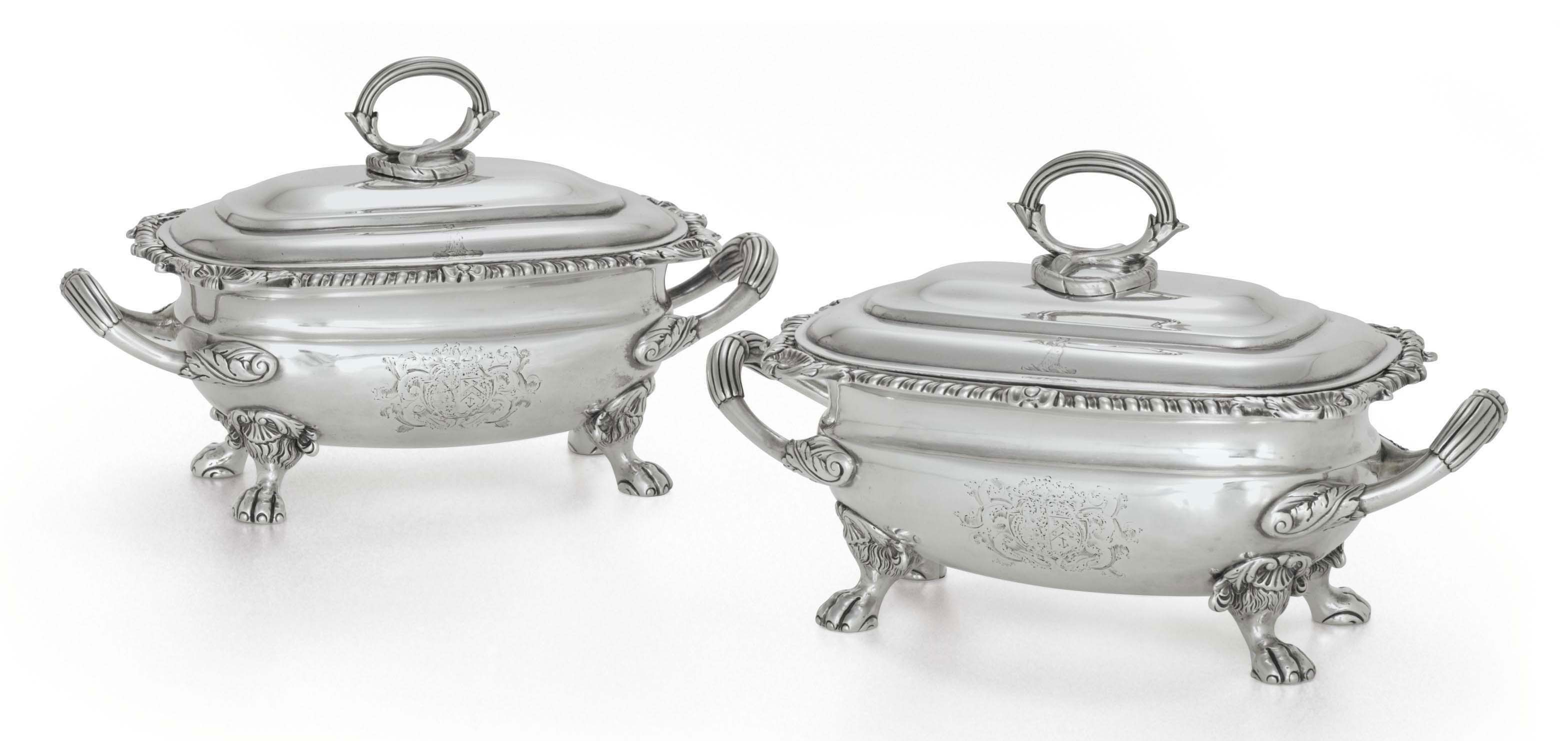 A PAIR OF GEORGE III SILVER SAUCE TUREENS