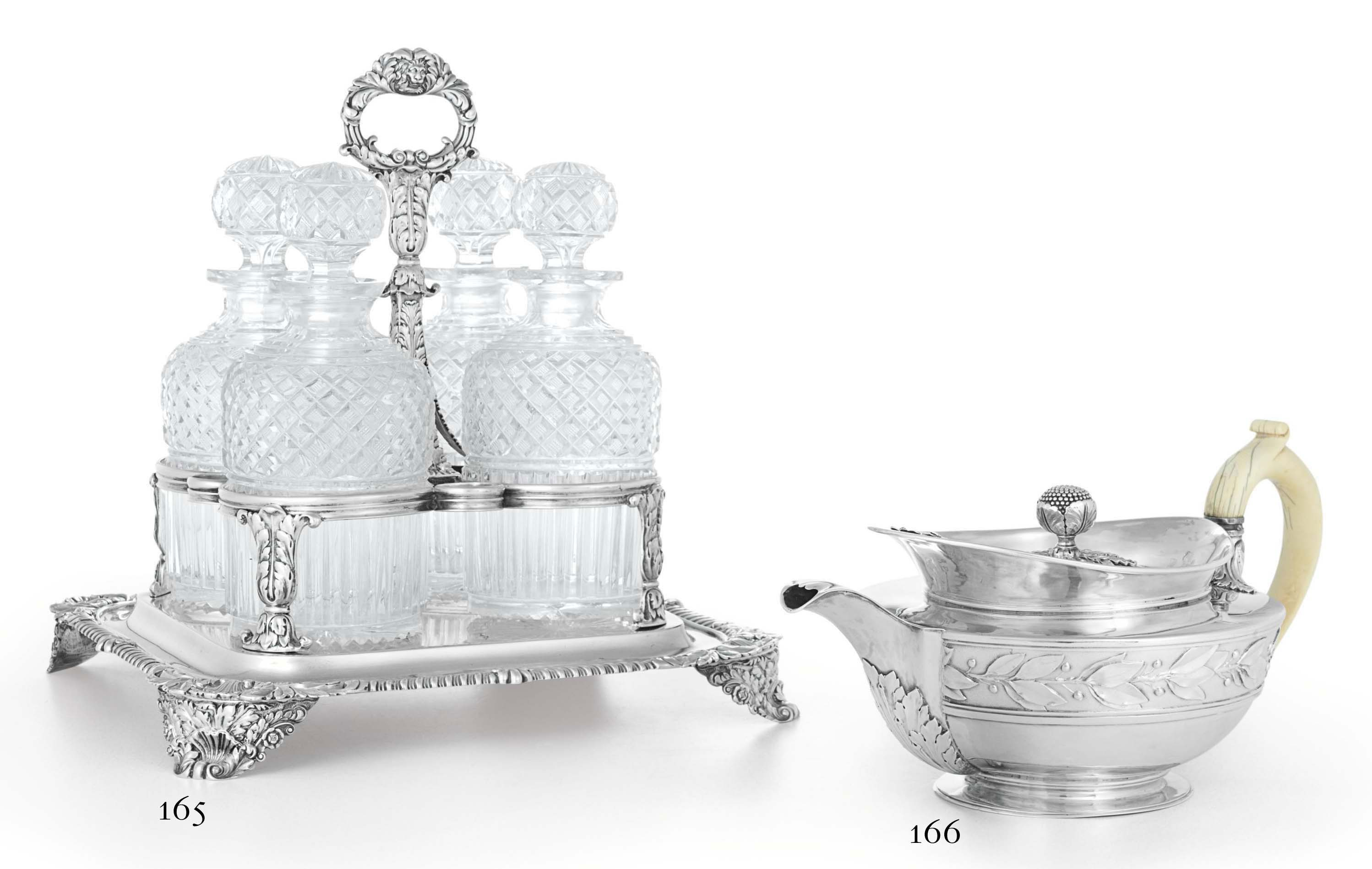 A GEORGE IV SILVER BOTTLE STAND