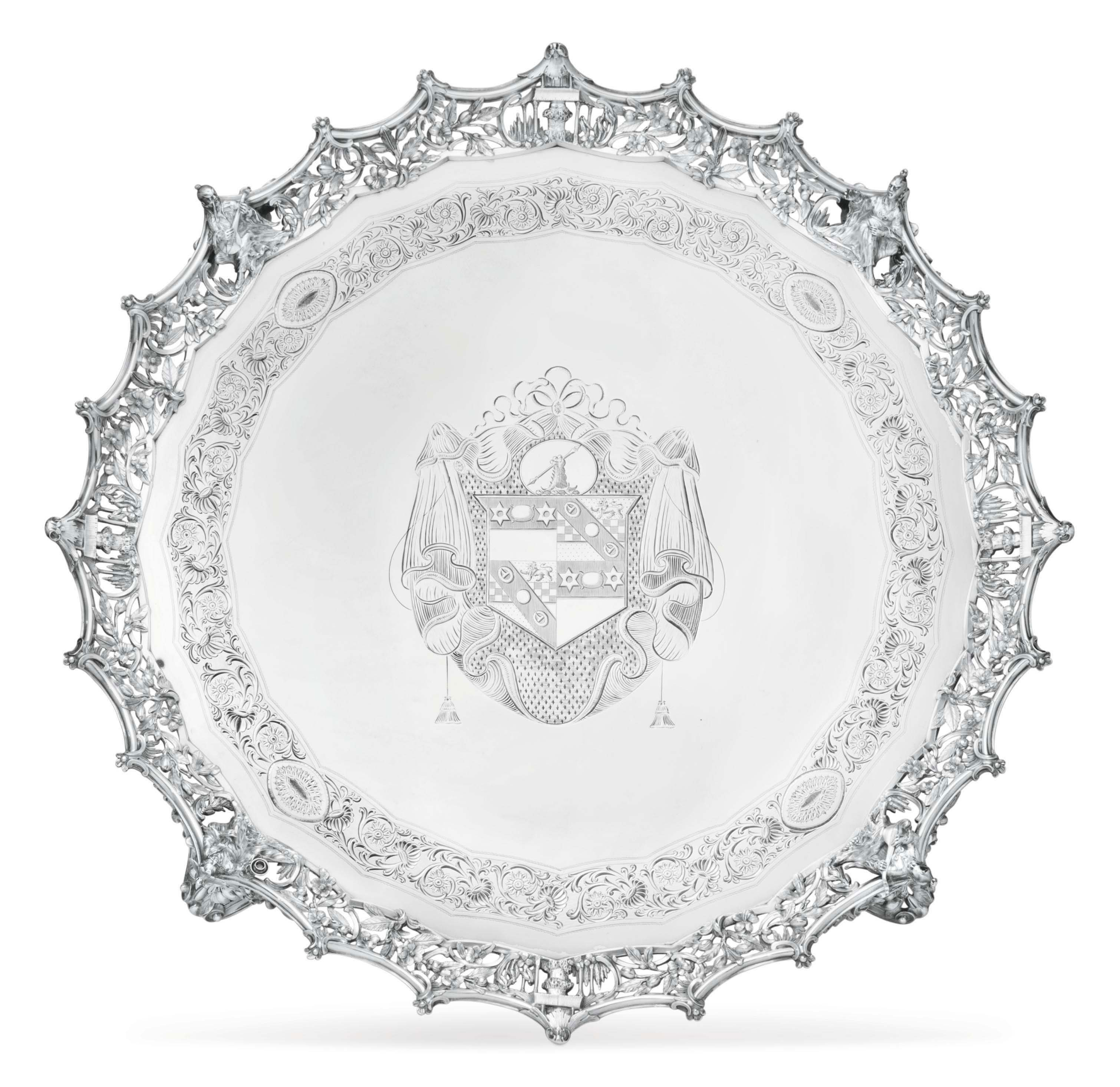 A LARGE GEORGE III SILVER SALVER