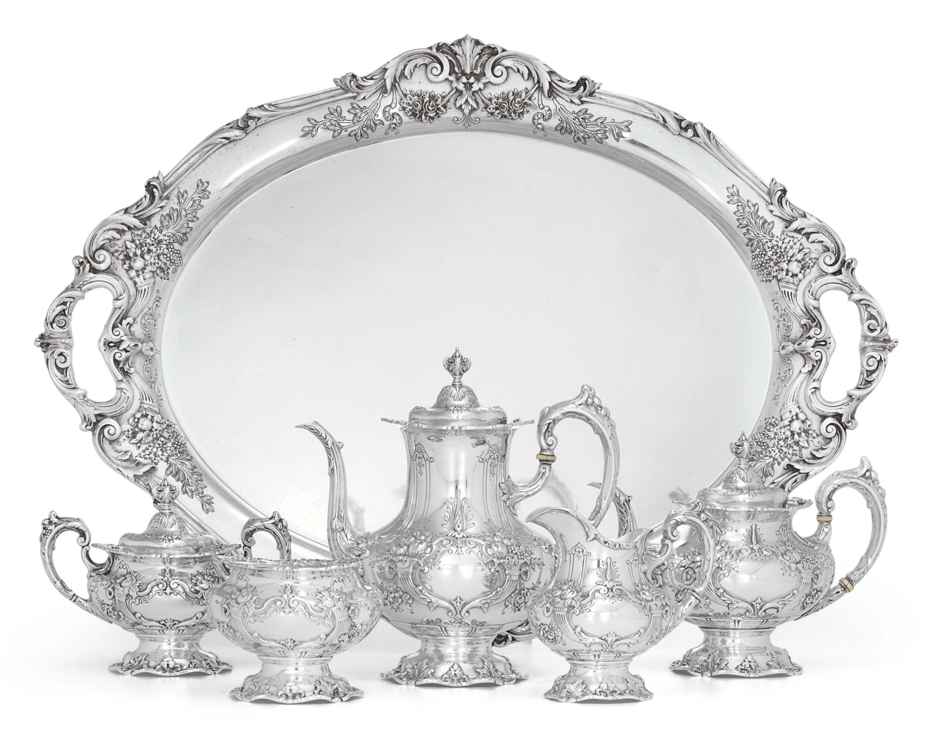 AN AMERICAN FIVE-PIECE SILVER TEA AND COFFEE SERVICE AND TRAY**