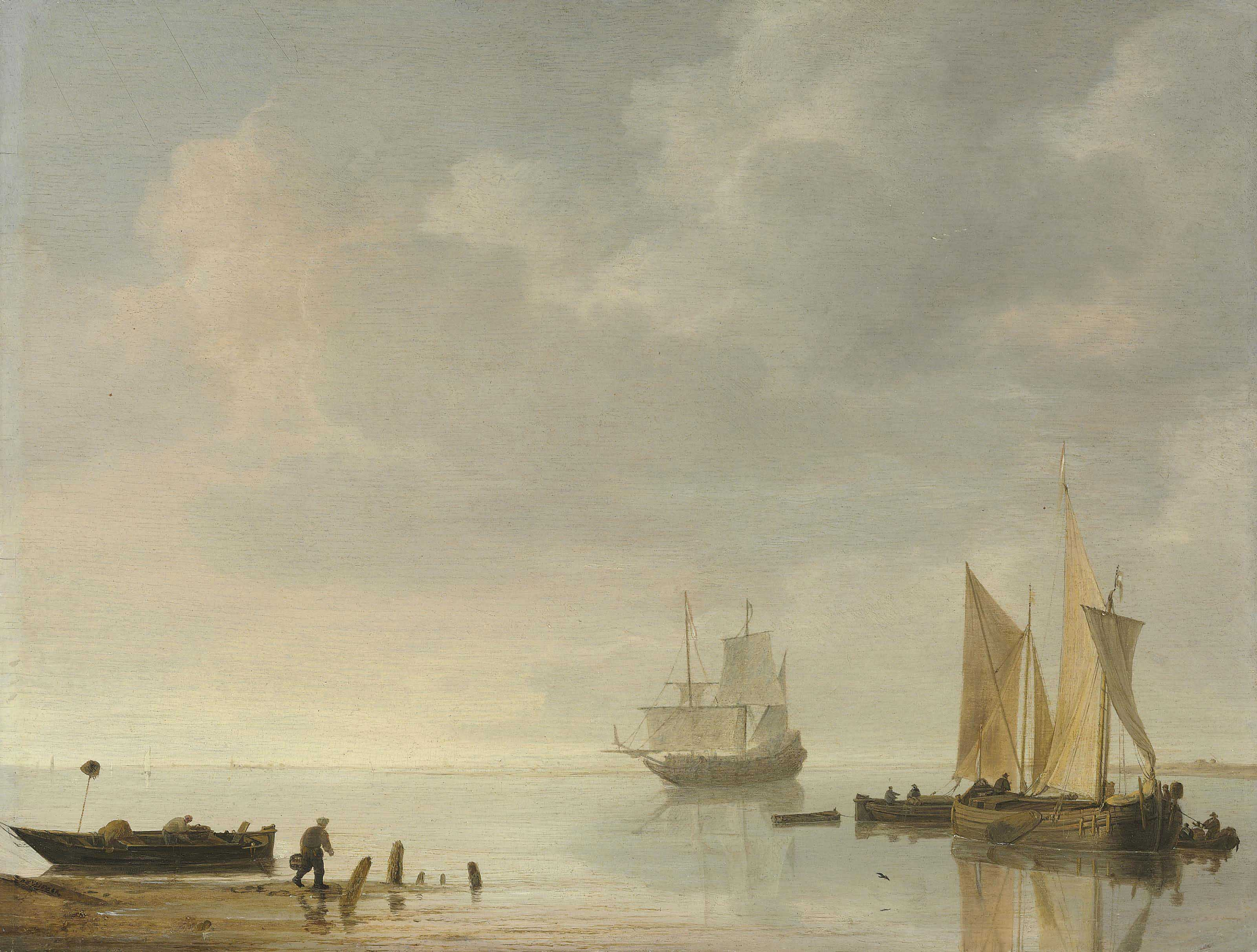 Coastal scene with ships resting on calm waters
