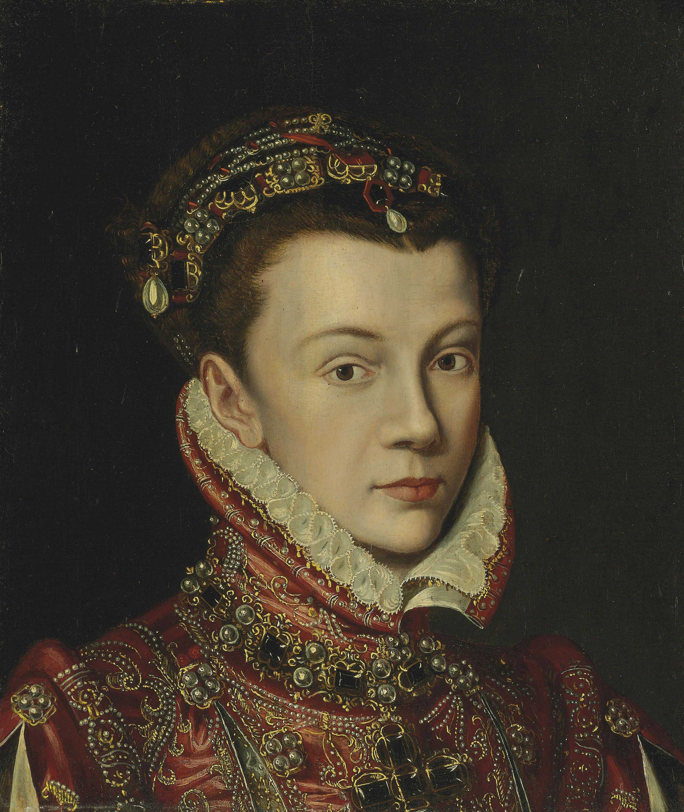 Portrait of Elizabeth of Valois, Queen of Spain, bust-length, wearing a jewelled headdress and a red embroidered dress