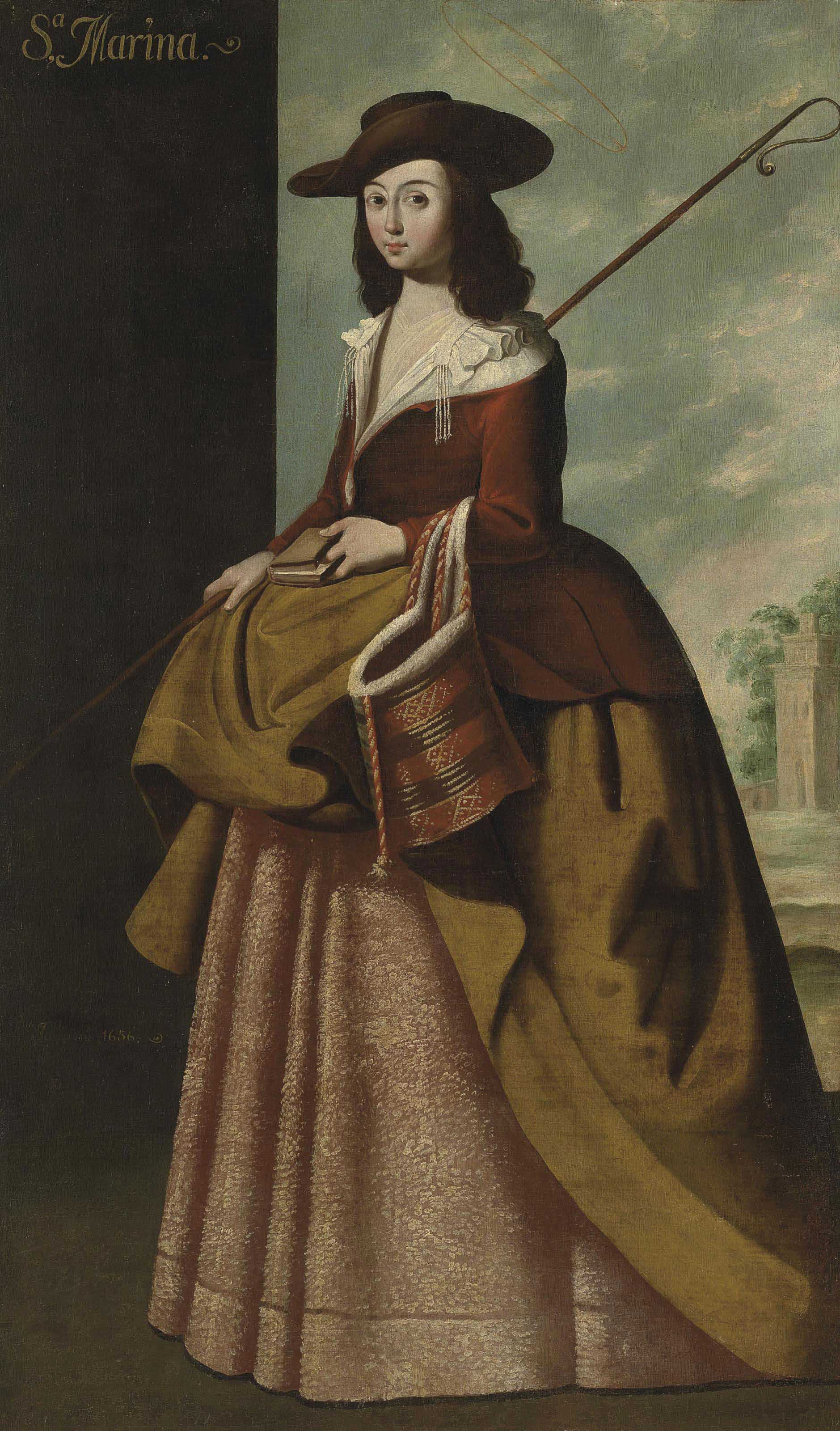 Saint Margaret of Antioch, full-length, holding a shepherd's crook and a bible