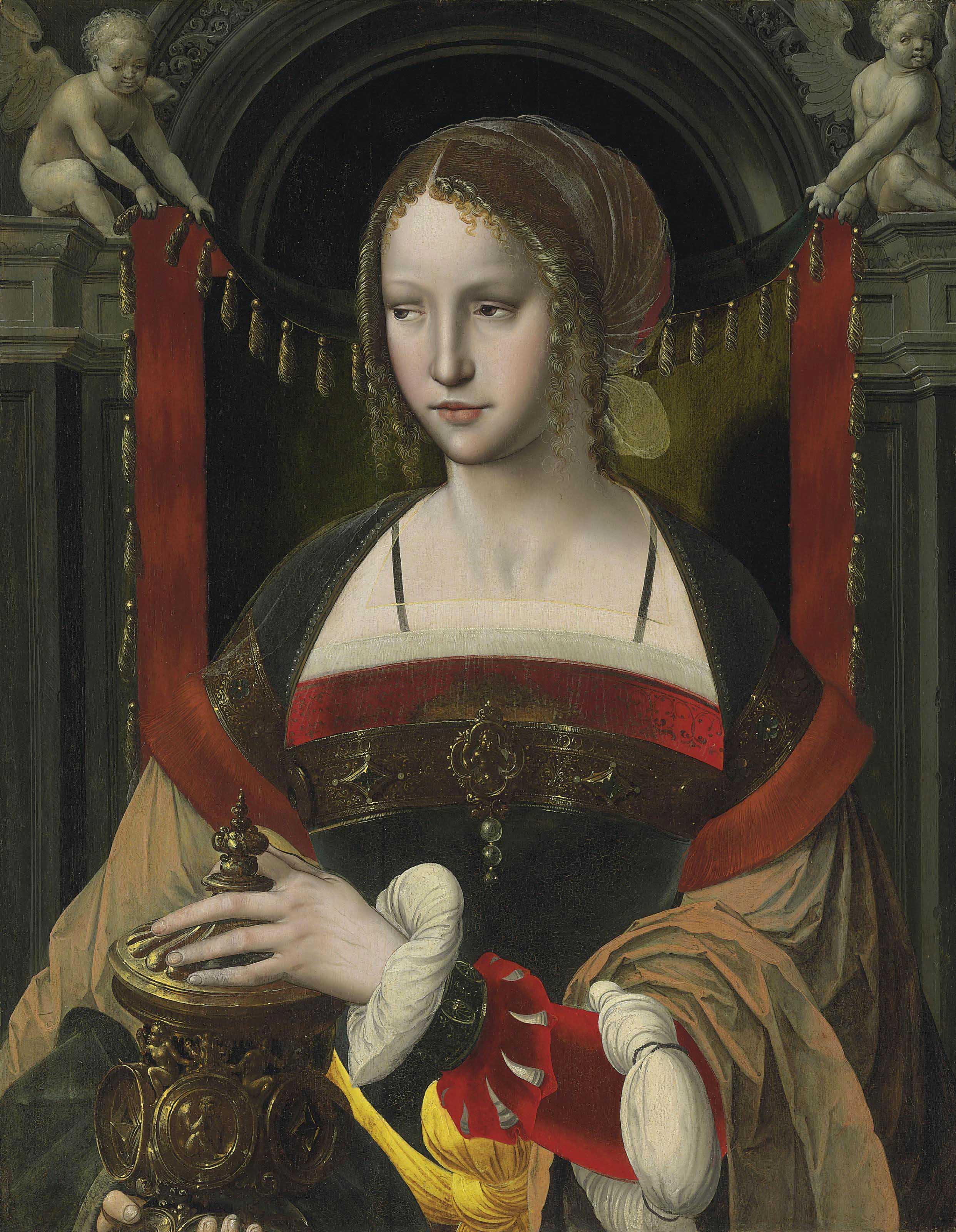 Saint Mary Magdalene before a curtain supported by angels in an architectural niche