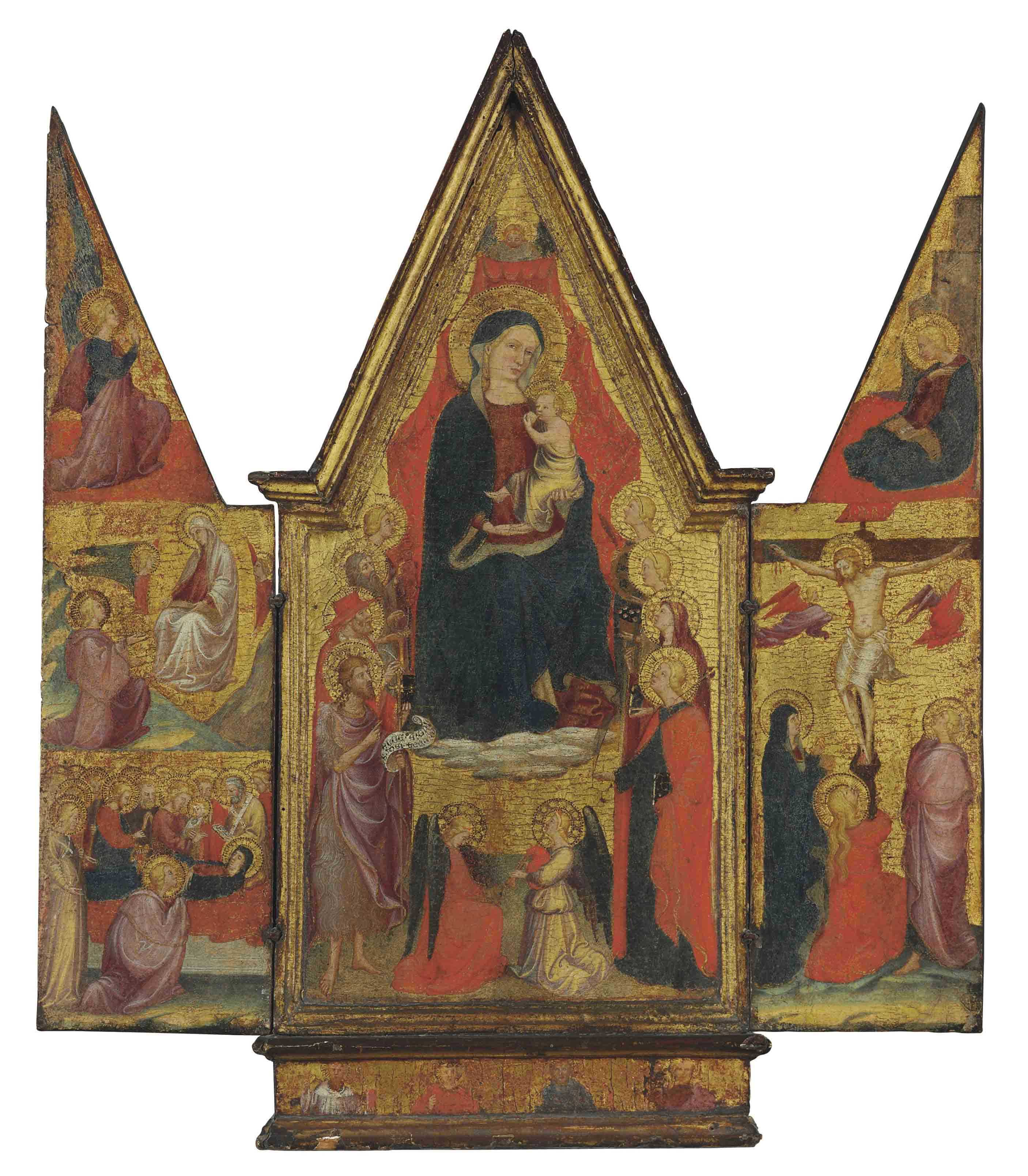 A triptych of The Madonna and Child with Saints and Angels; The Angel of the Annunciation, the Madonna della Cintola, and the Dormition of the Virgin on the left wing; The Virgin Annunciate and the Crucifixion on the right wing; Four male saints on the predella