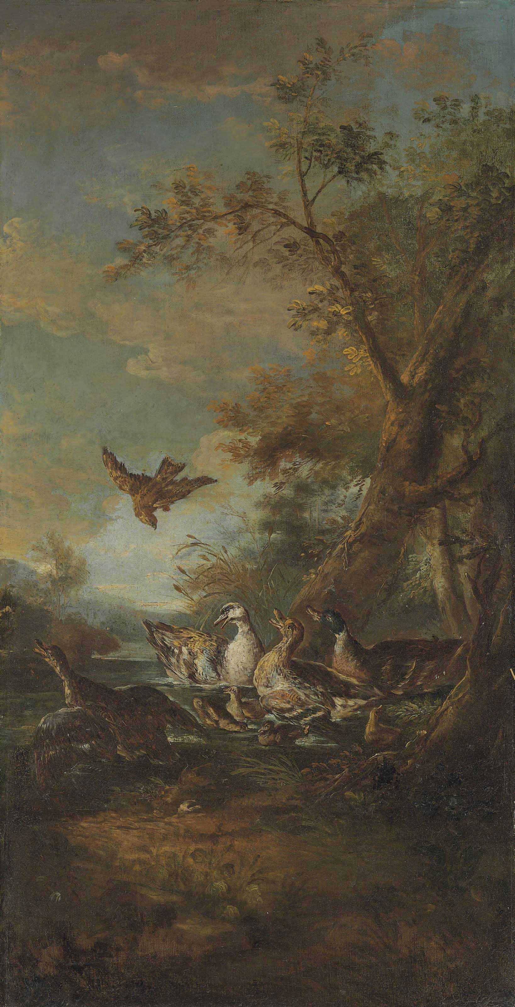 A bird of prey, ducks and ducklings in a landscape
