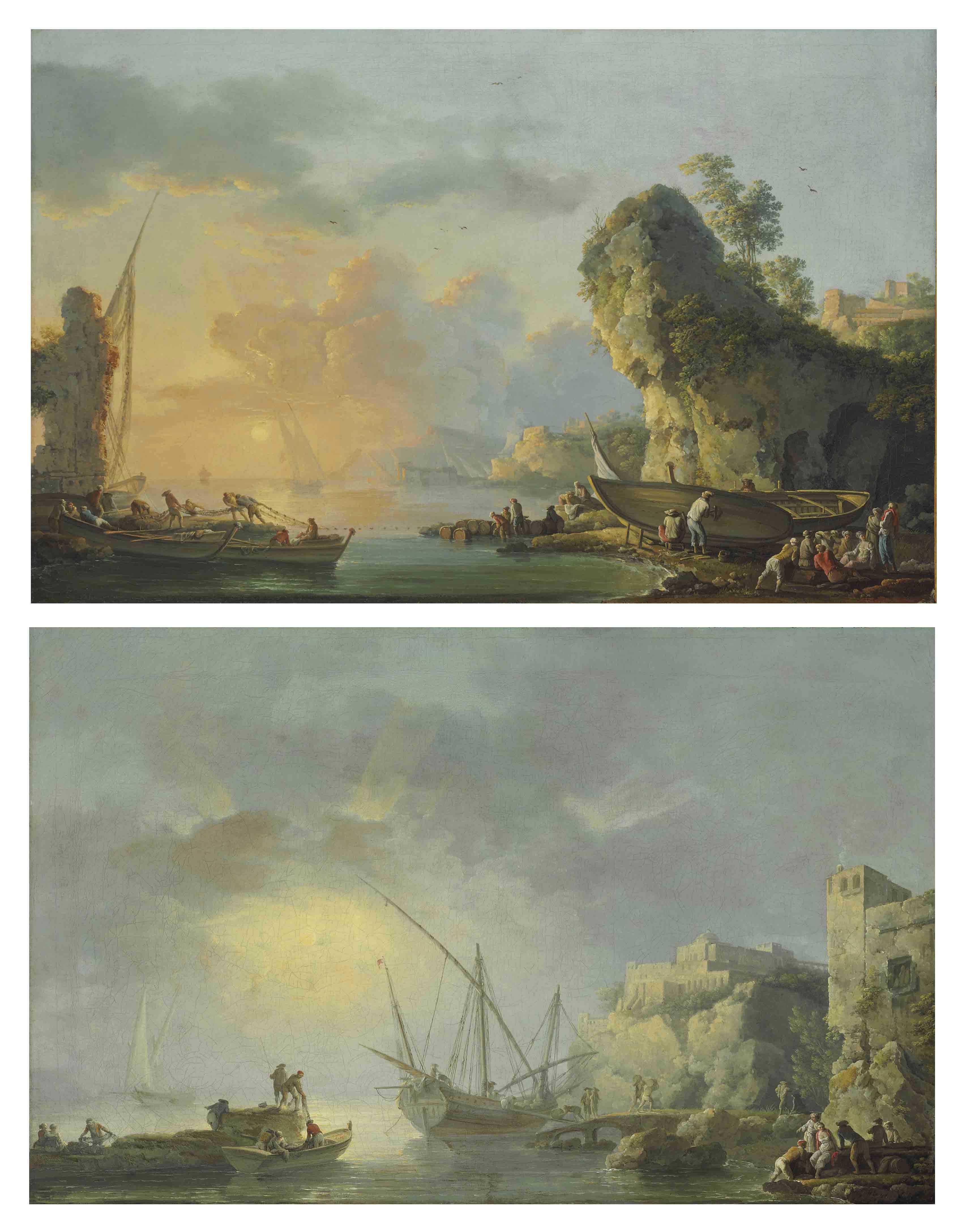 A harbor at dawn with fishermen embarking from the shore; and A harbor at dusk with fishermen tying up nets and coming ashore
