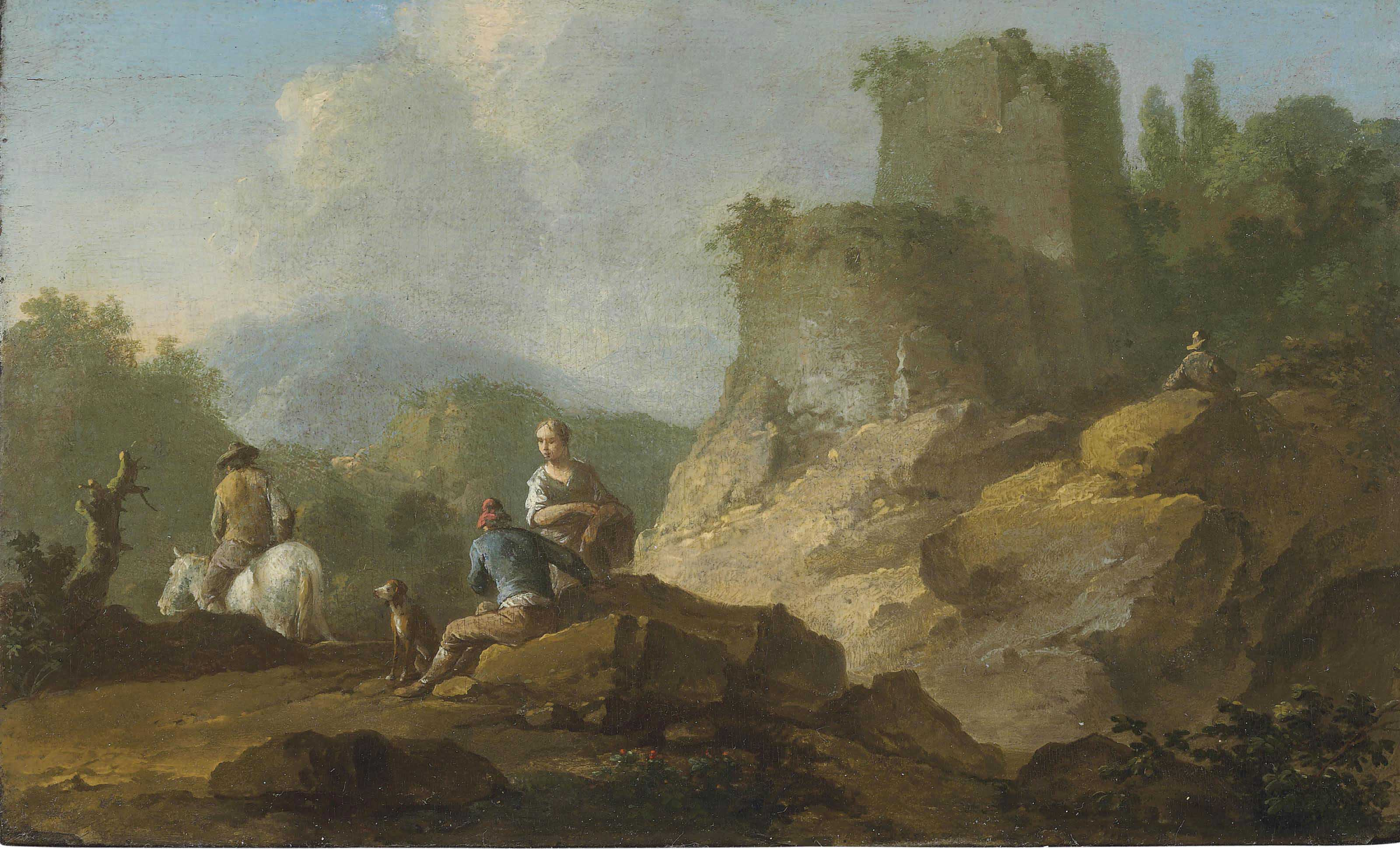 Landscape with travellers and ruins