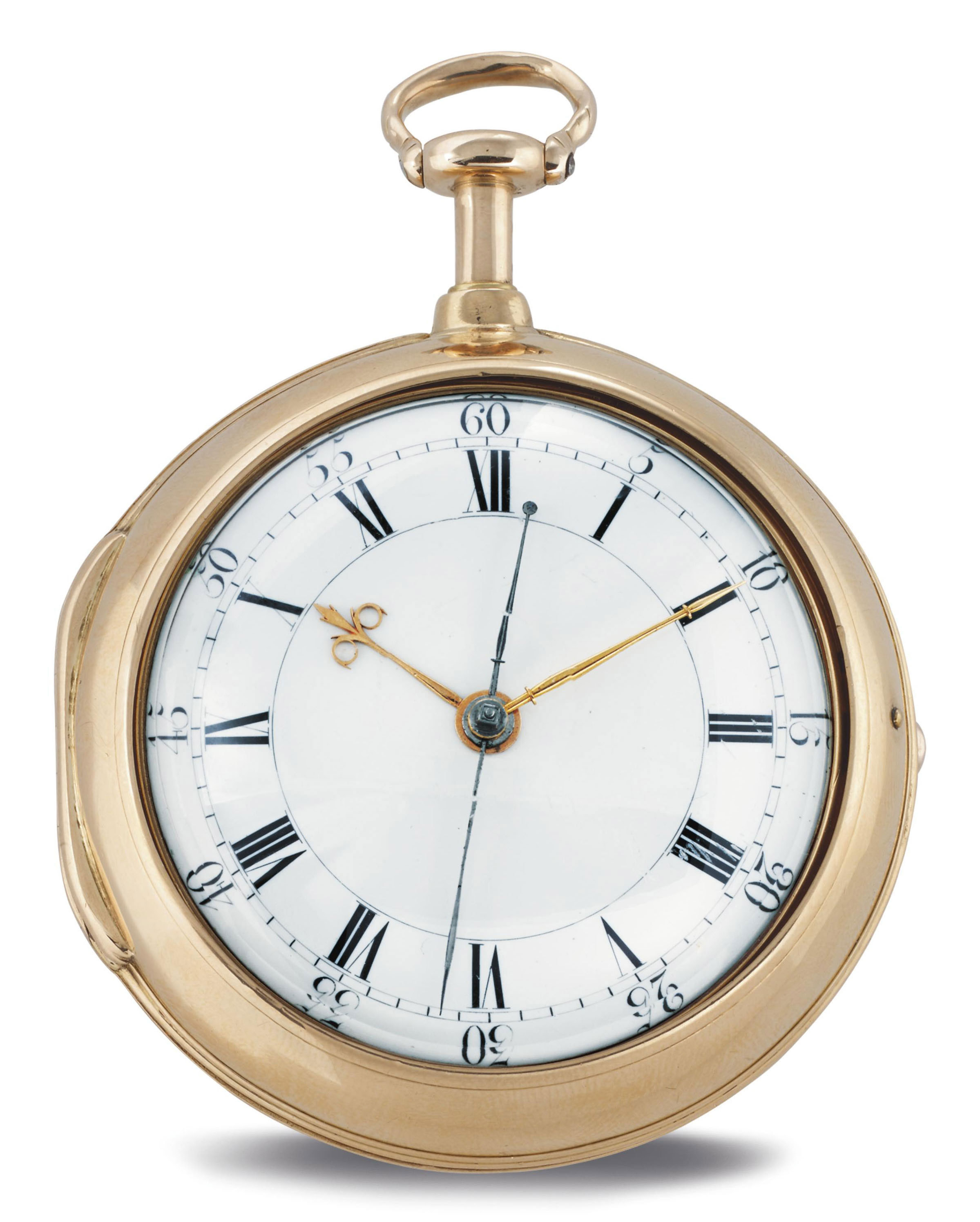 THOMAS MUDGE AND WILLIAM DUTTON. A GOLD PAIR CASE HALF-QUARTER REPEATING VERGE WATCH WITH CENTER SECONDS