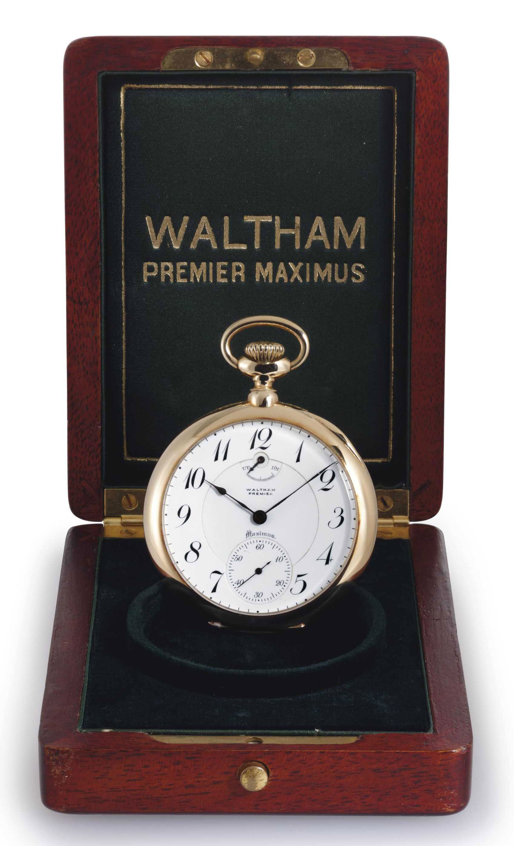 WALTHAM. A FINE AND RARE 18K GOLD OPENFACE KEYLESS LEVER POCKET WATCH WITH UP-AND-DOWN AND ORIGINAL BOX