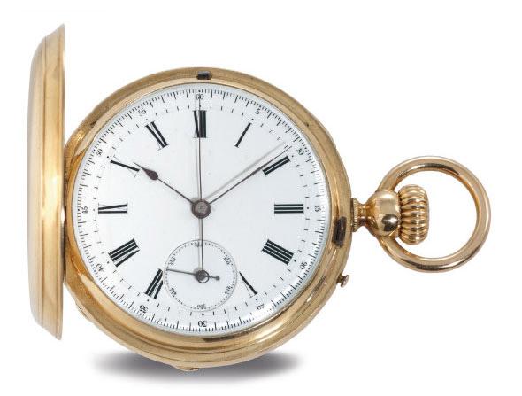 J.R. LOSADA. AN 18K GOLD HUNTER CASE CHRONOGRAPH KEYLESS LEVER POCKET WATCH