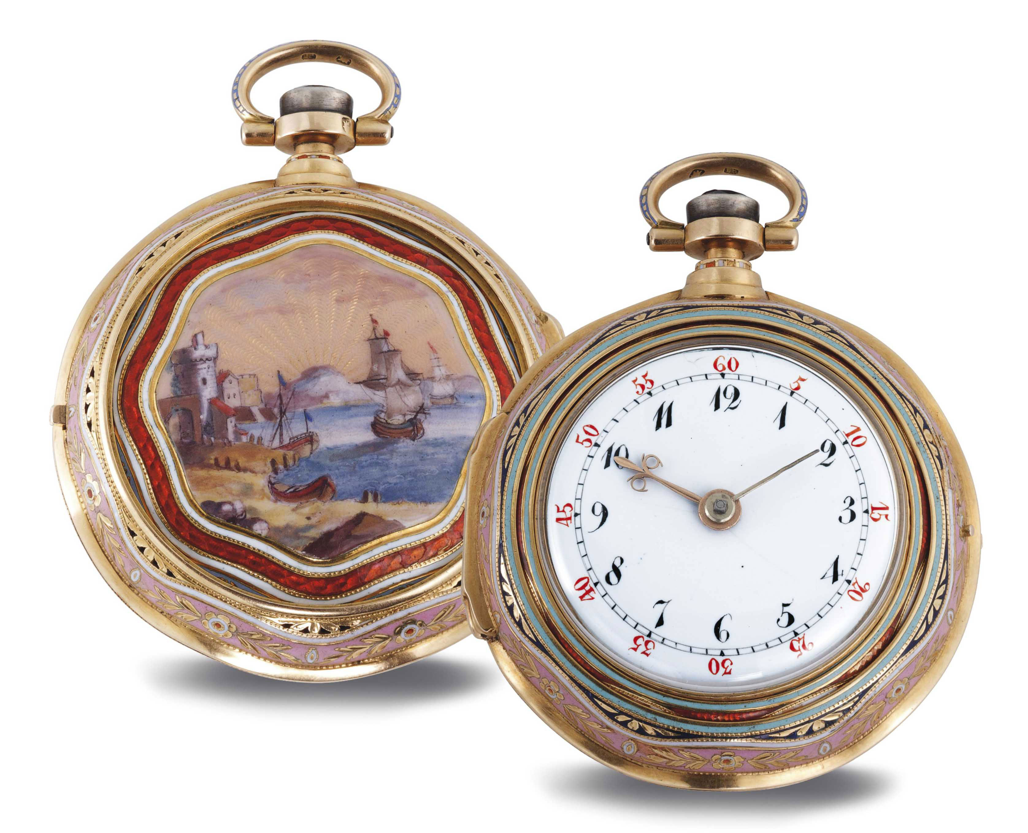 GEORGE PRIOR, A FINE 18K GOLD AND ENAMEL OPENFACE QUARTER REPEATING TRIPLE CASE VERGE WATCH