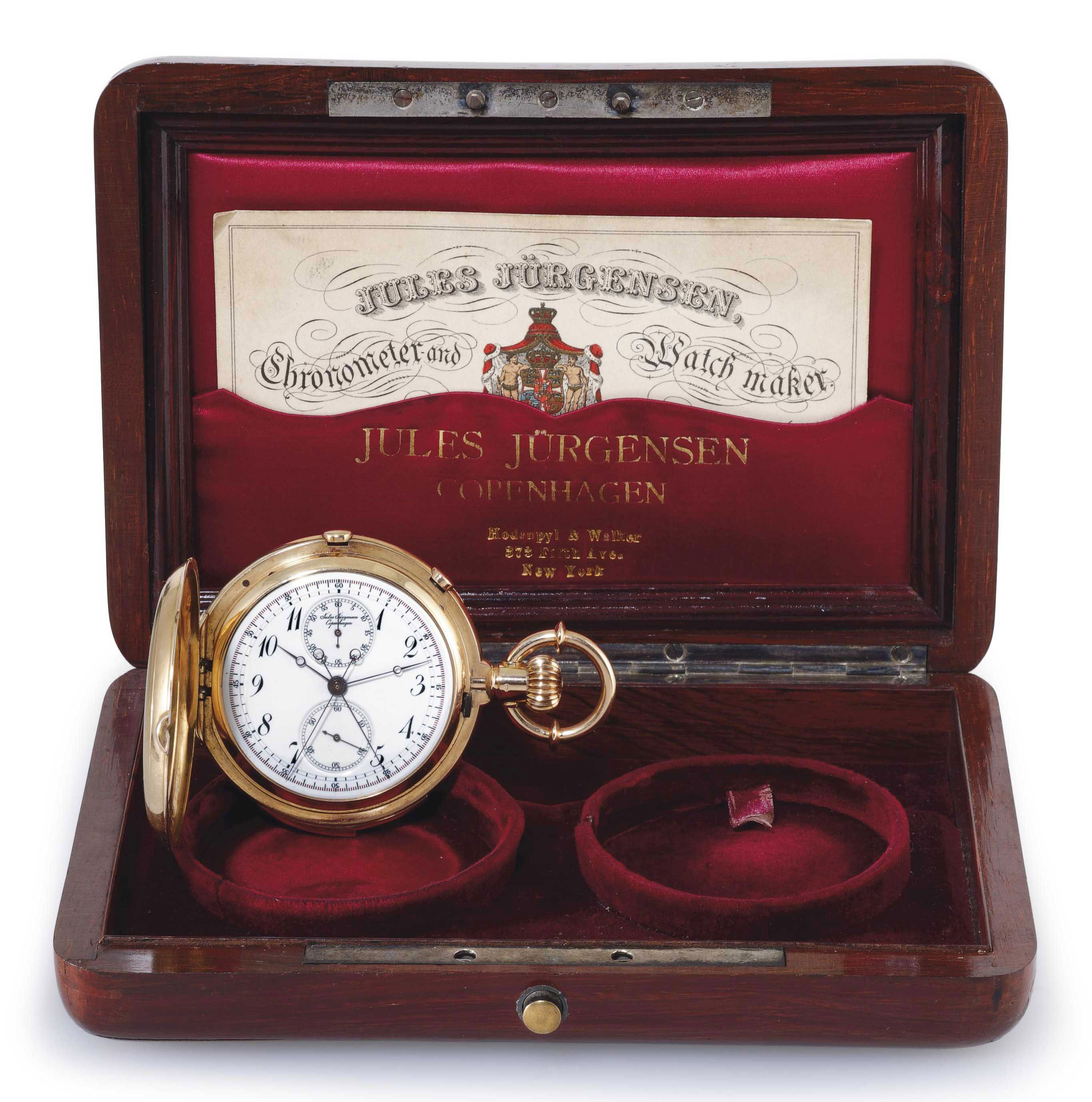 JULES JÜREGNSEN. A RARE 18K PINK GOLD HUNTER CASE MINUTE REPEATING SPLIT-SECONDS CHRONOGRAPH KEYLESS LEVER POCKET WATCH WITH ORIGINAL BOX AND CERTIFICATE