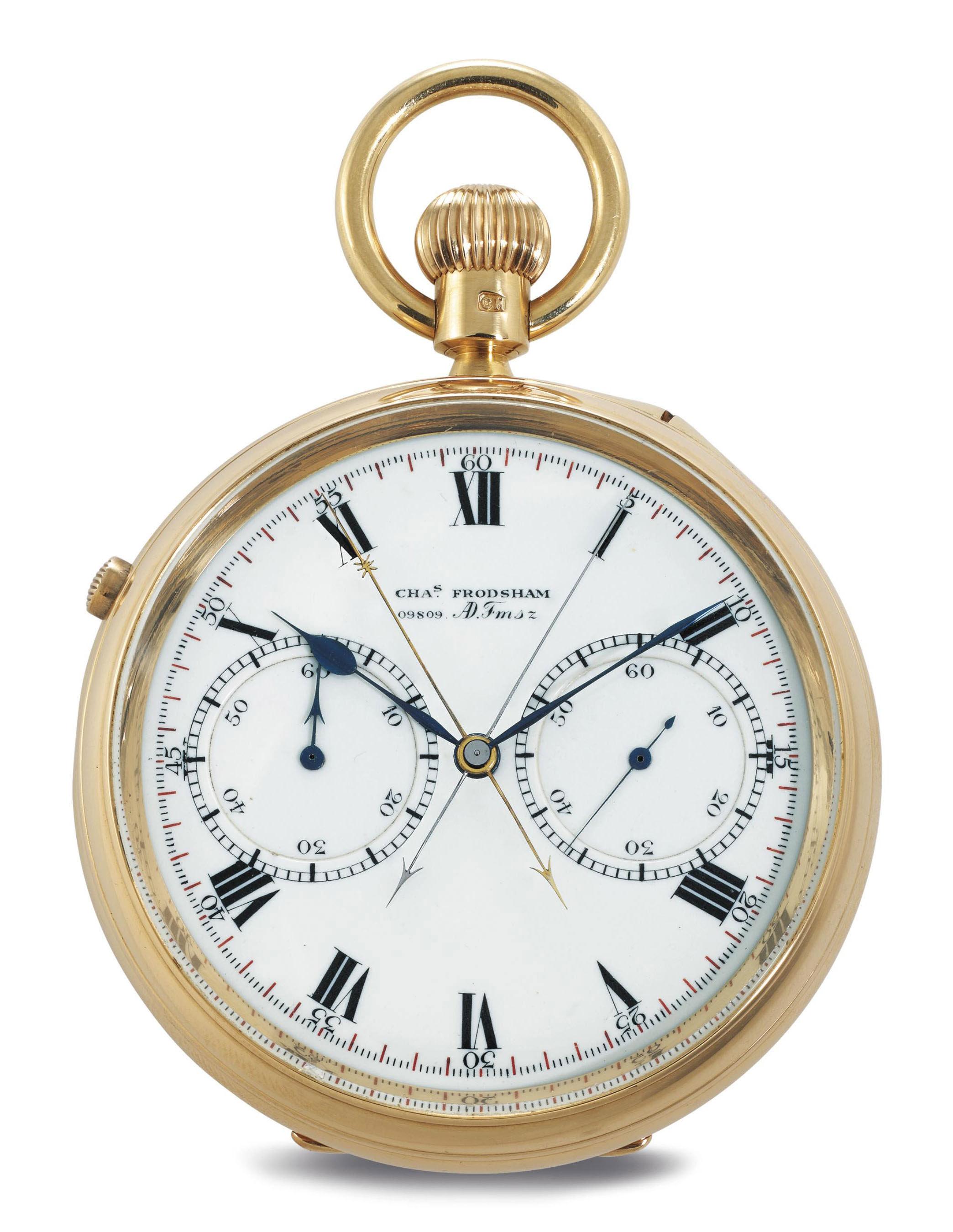 CHARLES FRODSHAM.  A FINE 18K GOLD OPENFACE SPLIT-SECONDS CHRONOGRAPH KEYLESS LEVER POCKET WATCH