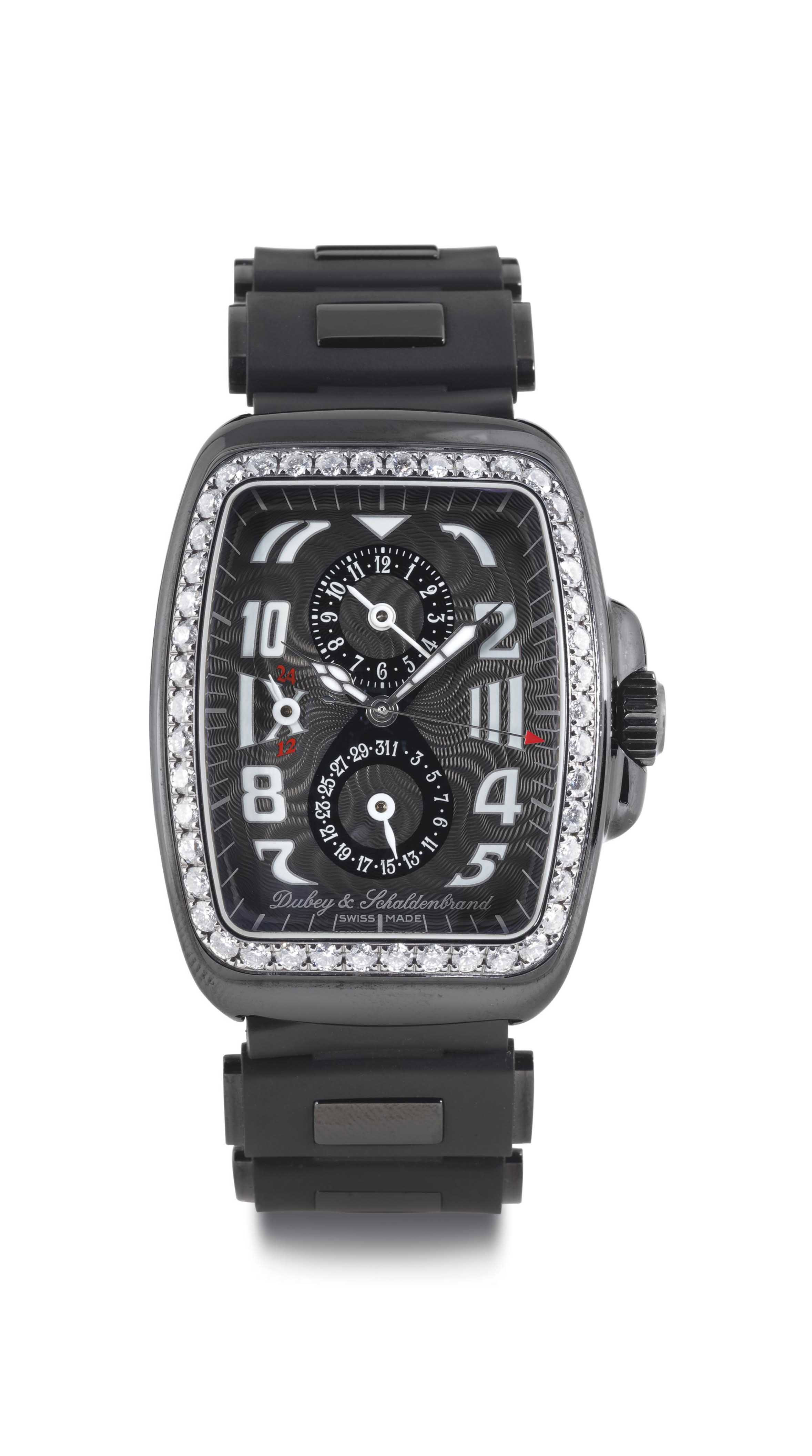 DUBEY & SCHALDENBRAND. A LIMITED EDITION BLACK CERAMIC, STEEL AND DIAMOND TONNEAU AUTOMATIC DUAL TIME WRISTWATCH WITH DATE, DAY/NIGHT INDICATOR AND BLACK CERAMIC AND RUBBER BRACELET