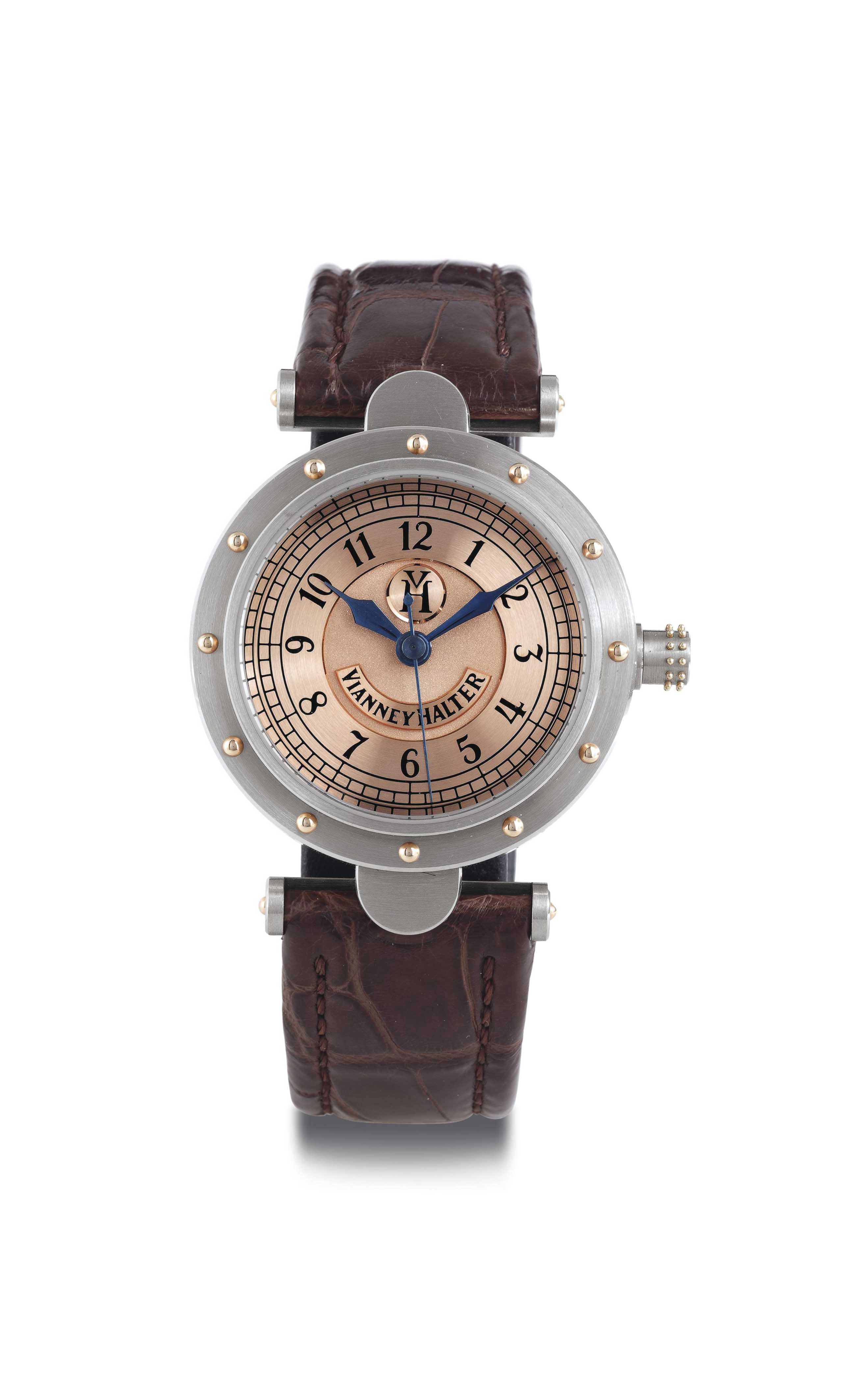 VIANNEY HALTER.  AN 18K WHITE GOLD AUTOMATIC WRISTWATCH WITH CENTER SECONDS