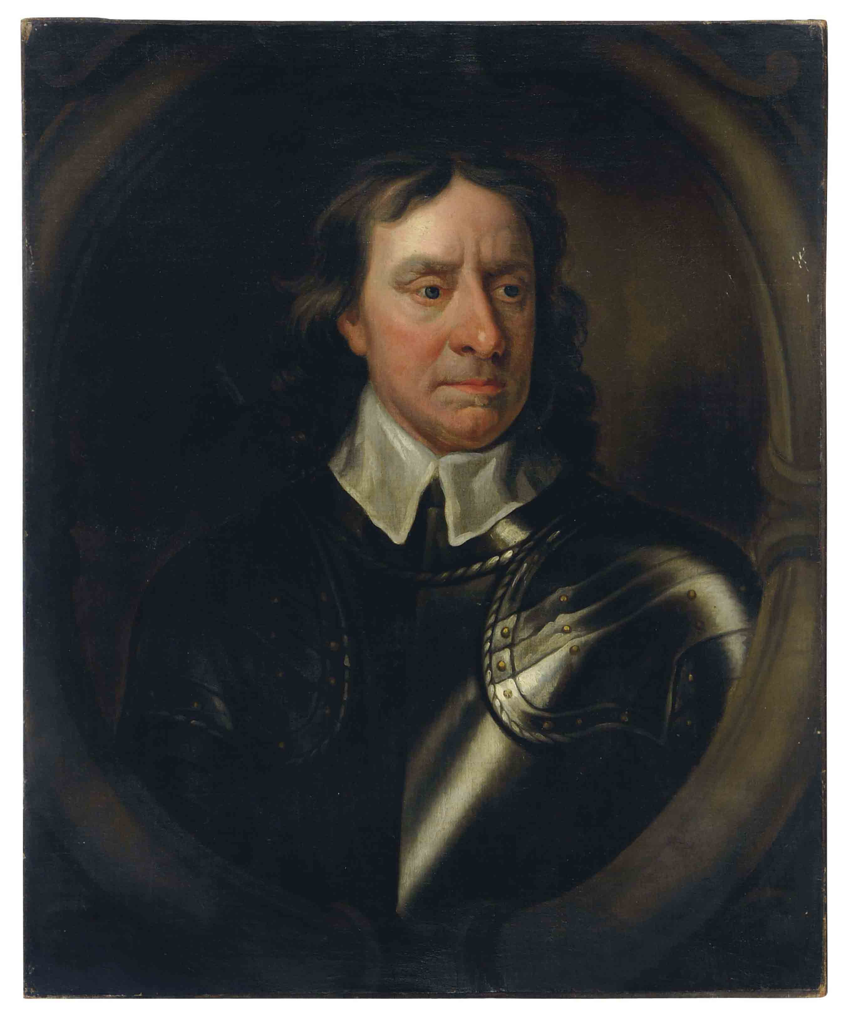 Portrait of Oliver Cromwell, in a painted oval