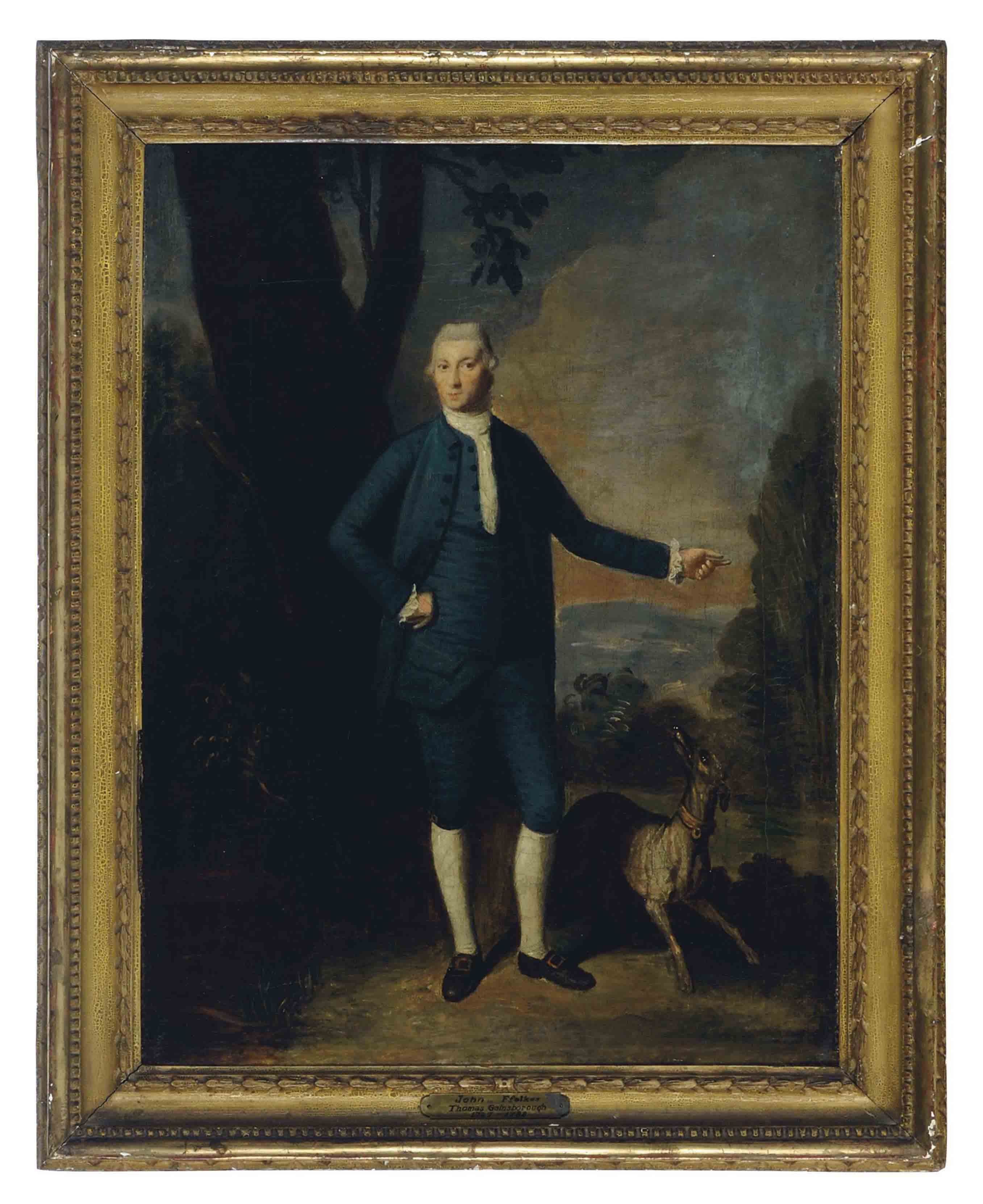 Portrait of John Ffolkes with a dog in a landscape; and a companion portrait of his wife Catherine Ffolkes