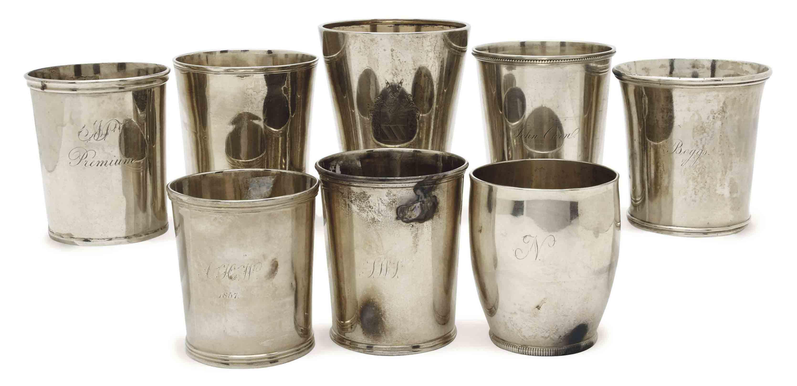 EIGHT AMERICAN SILVER BEAKER CUPS,
