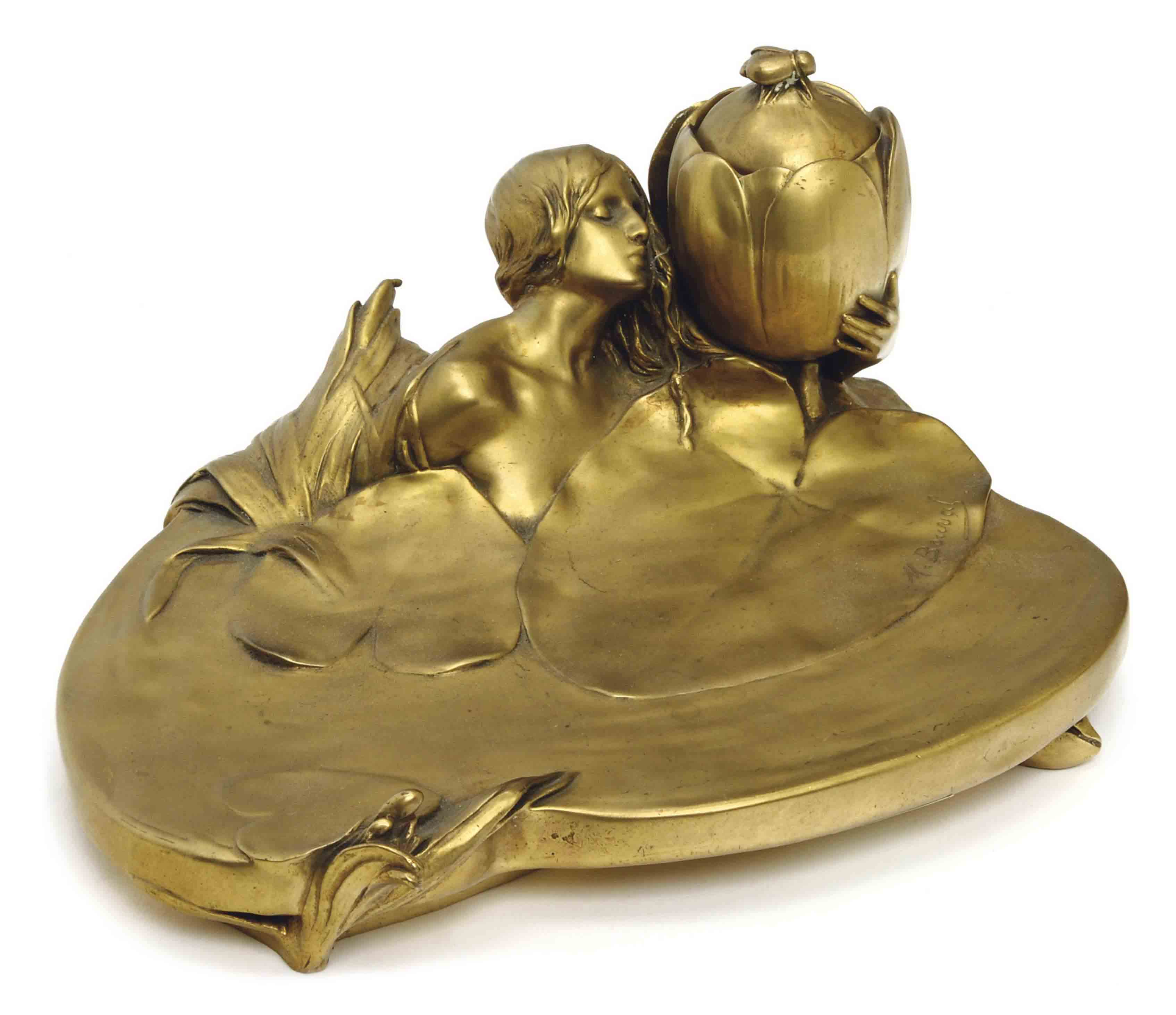 A FRENCH ART NOUVEAU GILT-BRONZE FIGURAL ENCRIER,
